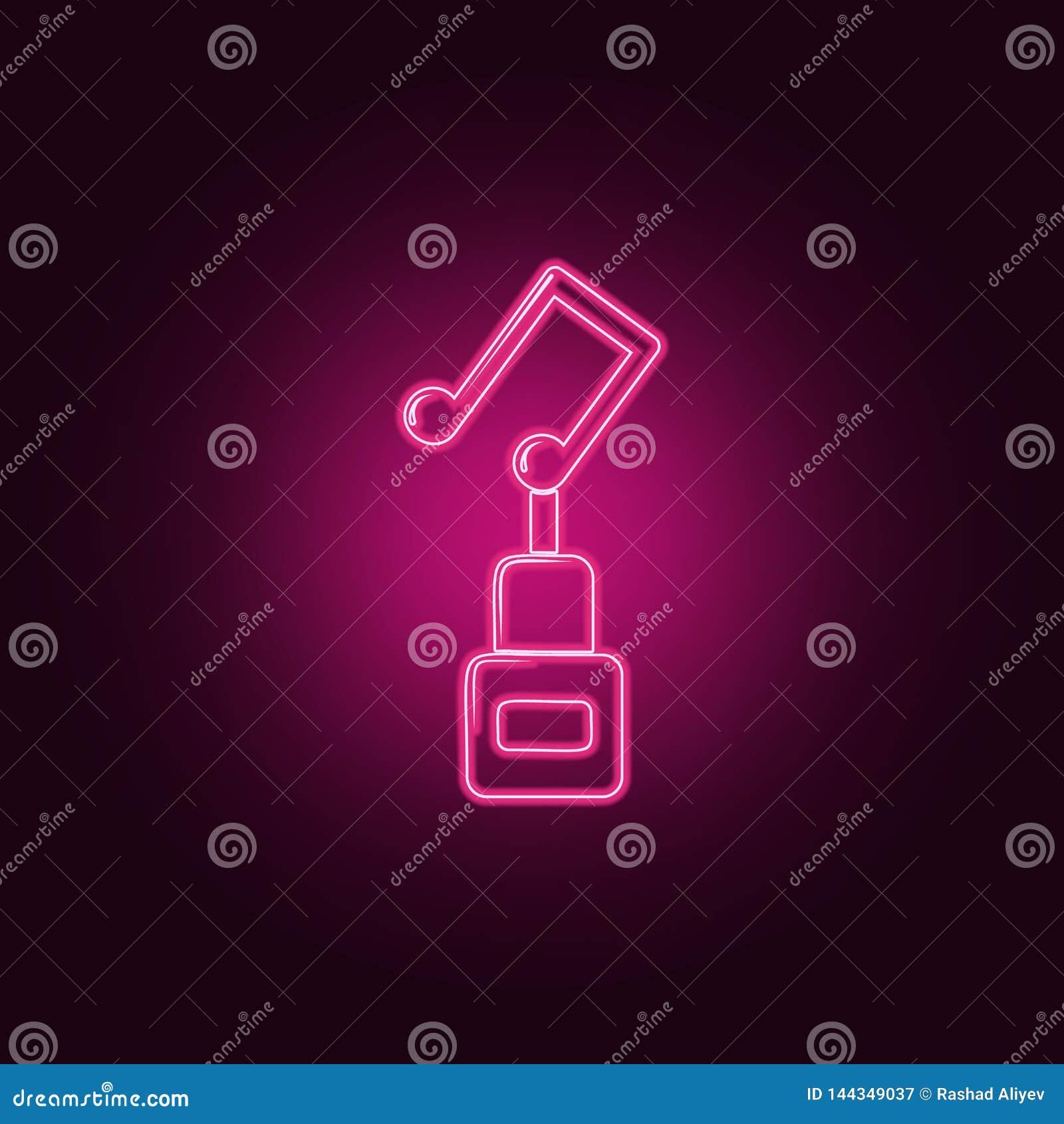 музыкальный значок чашки Элементы Sucsess и награды в неоновых значках стиля r