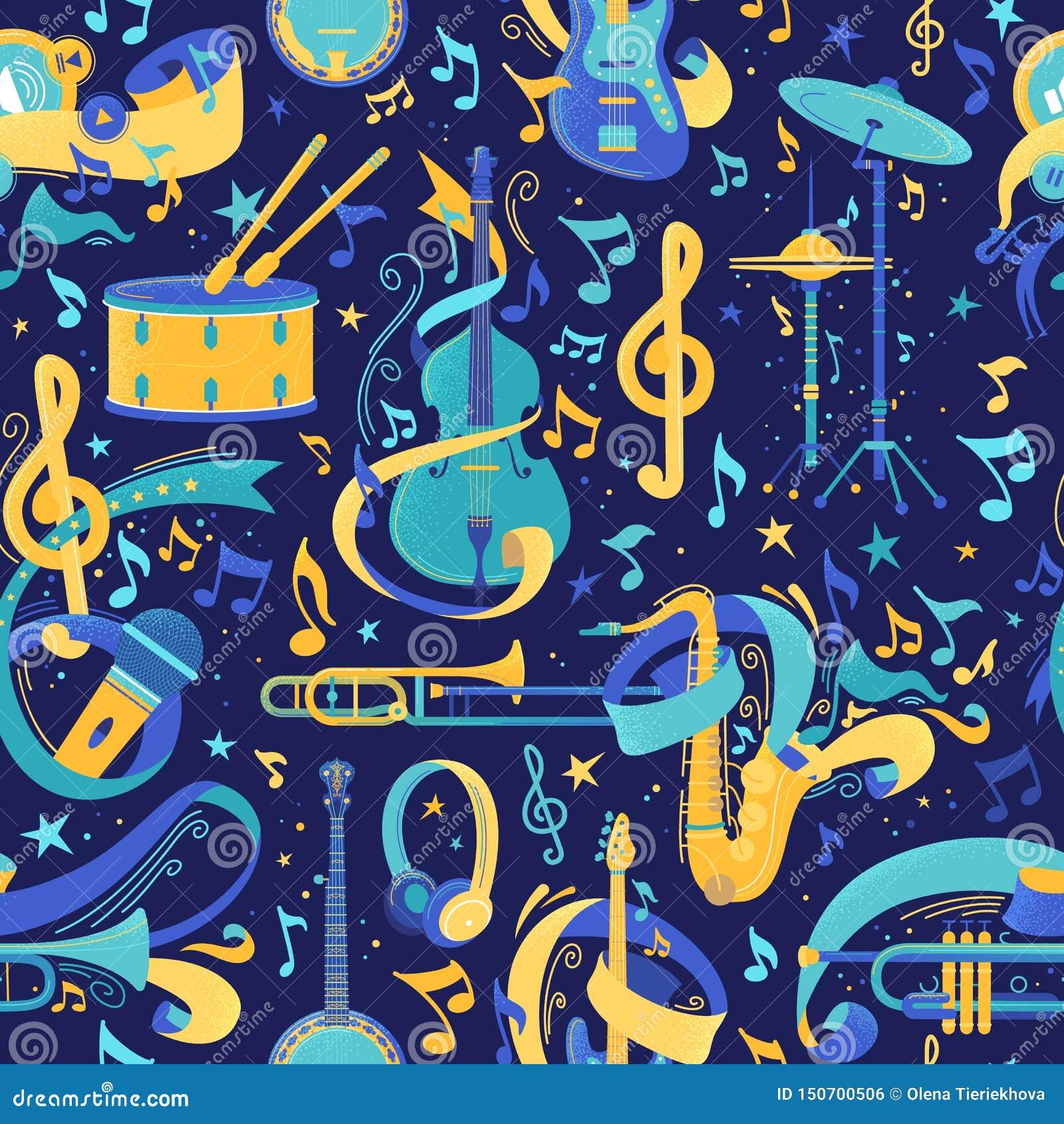 Музыкальных инструментов картина вектора плоско безшовная