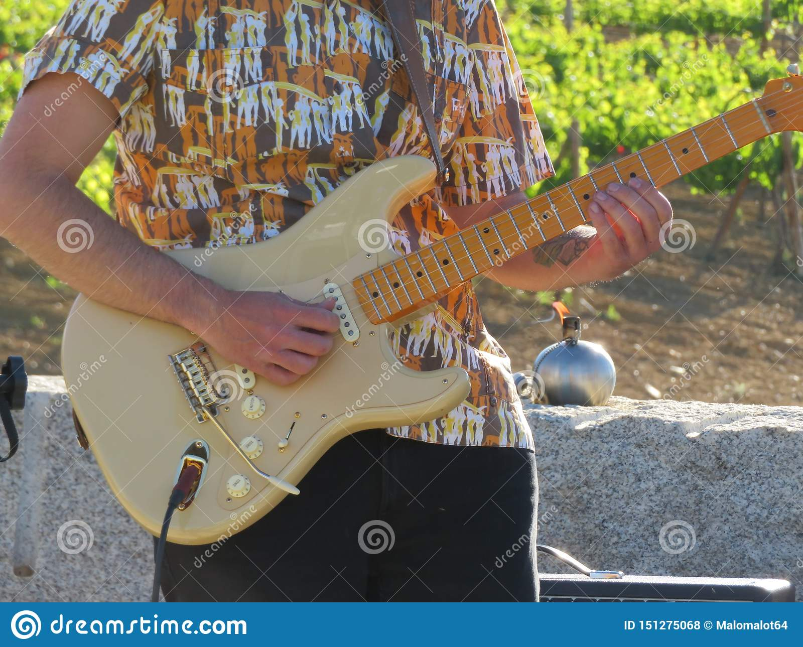 Музыкант играя гитару составляя красивые песни