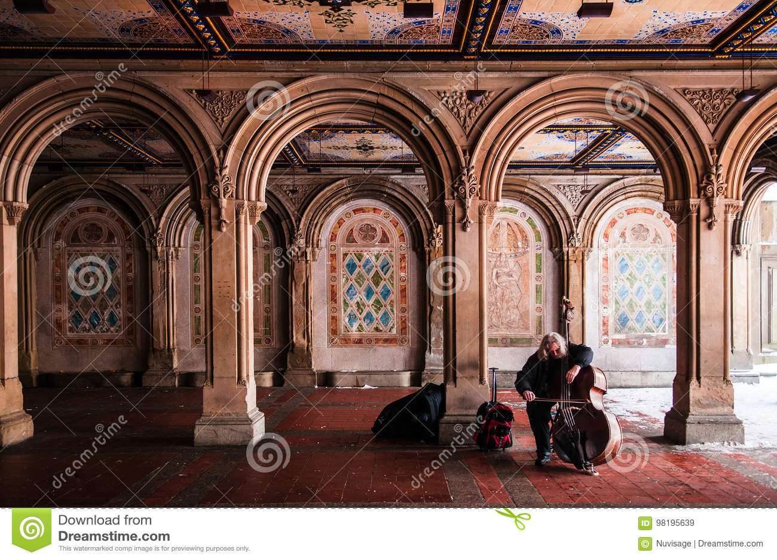 Музыкант улицы играет виолончель на террасе Bethesda, Central Park, n