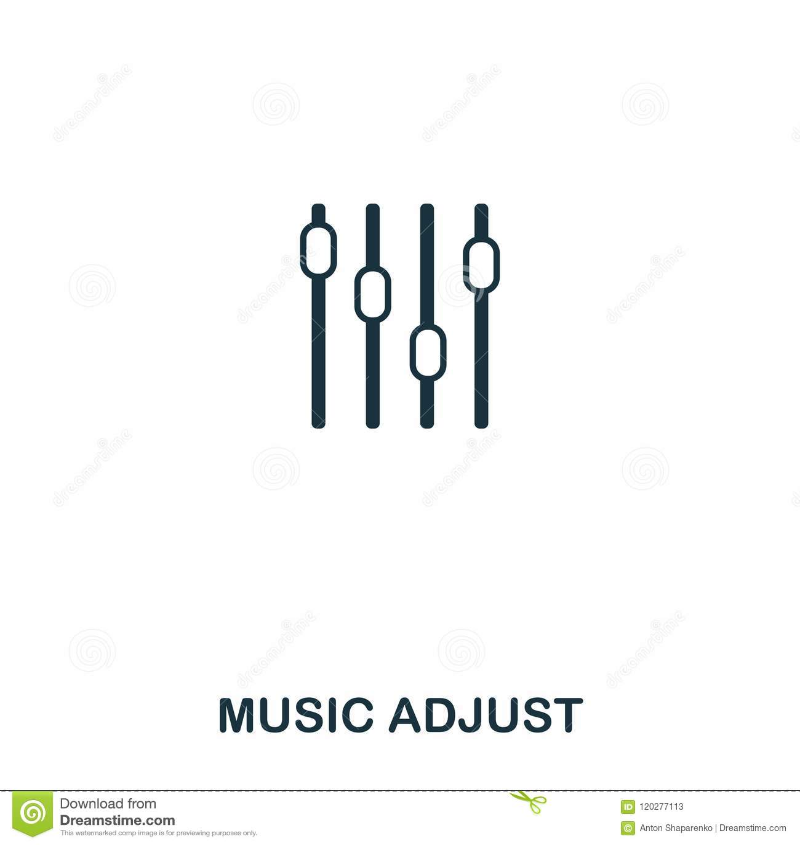 Музыка регулирует значок Линия дизайн значка стиля Ui Иллюстрация музыки регулирует значок пиктограмма изолированная на белизне П