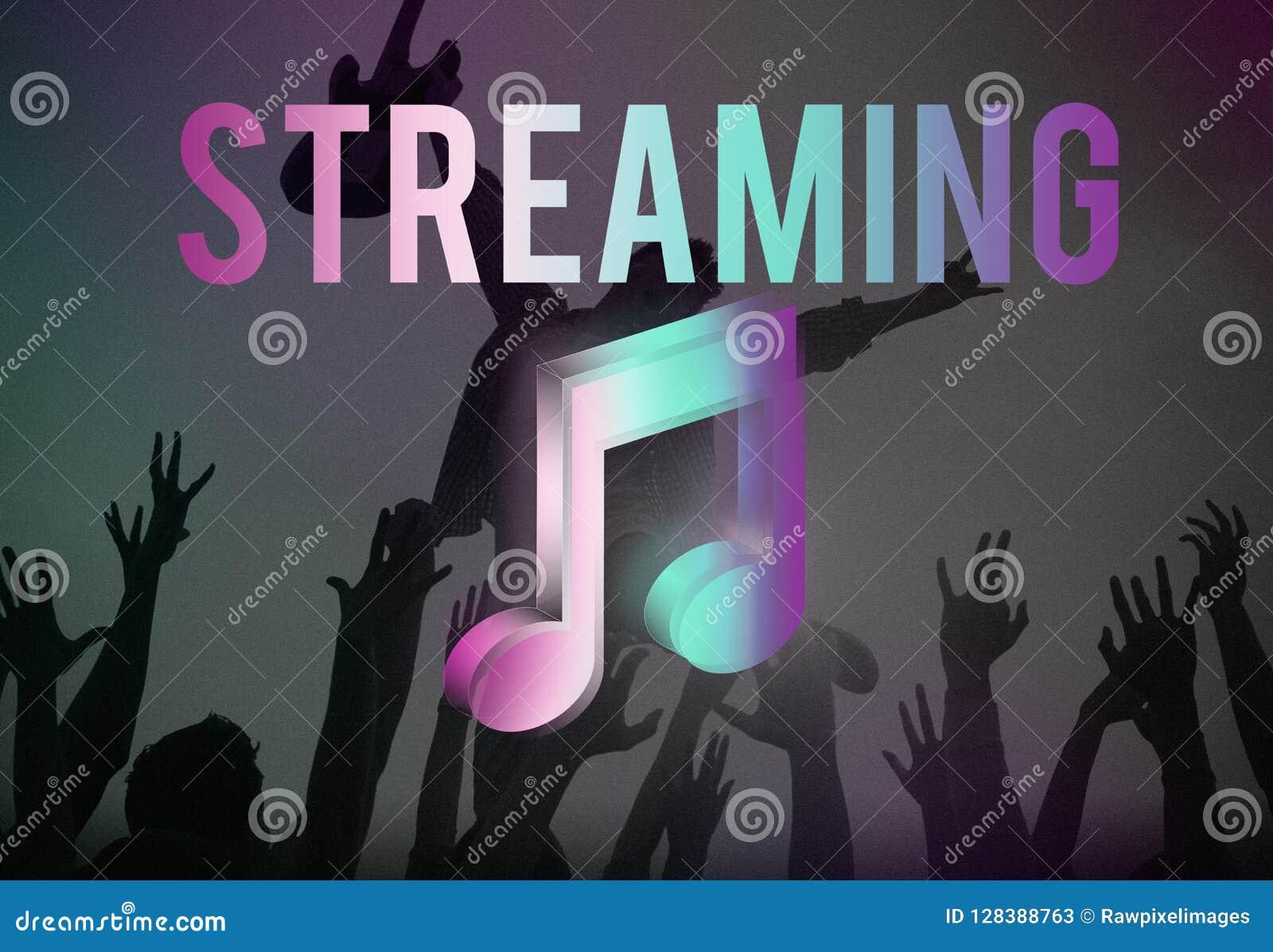 Музыка цифров течь онлайн концепция средств массовой информации развлечений