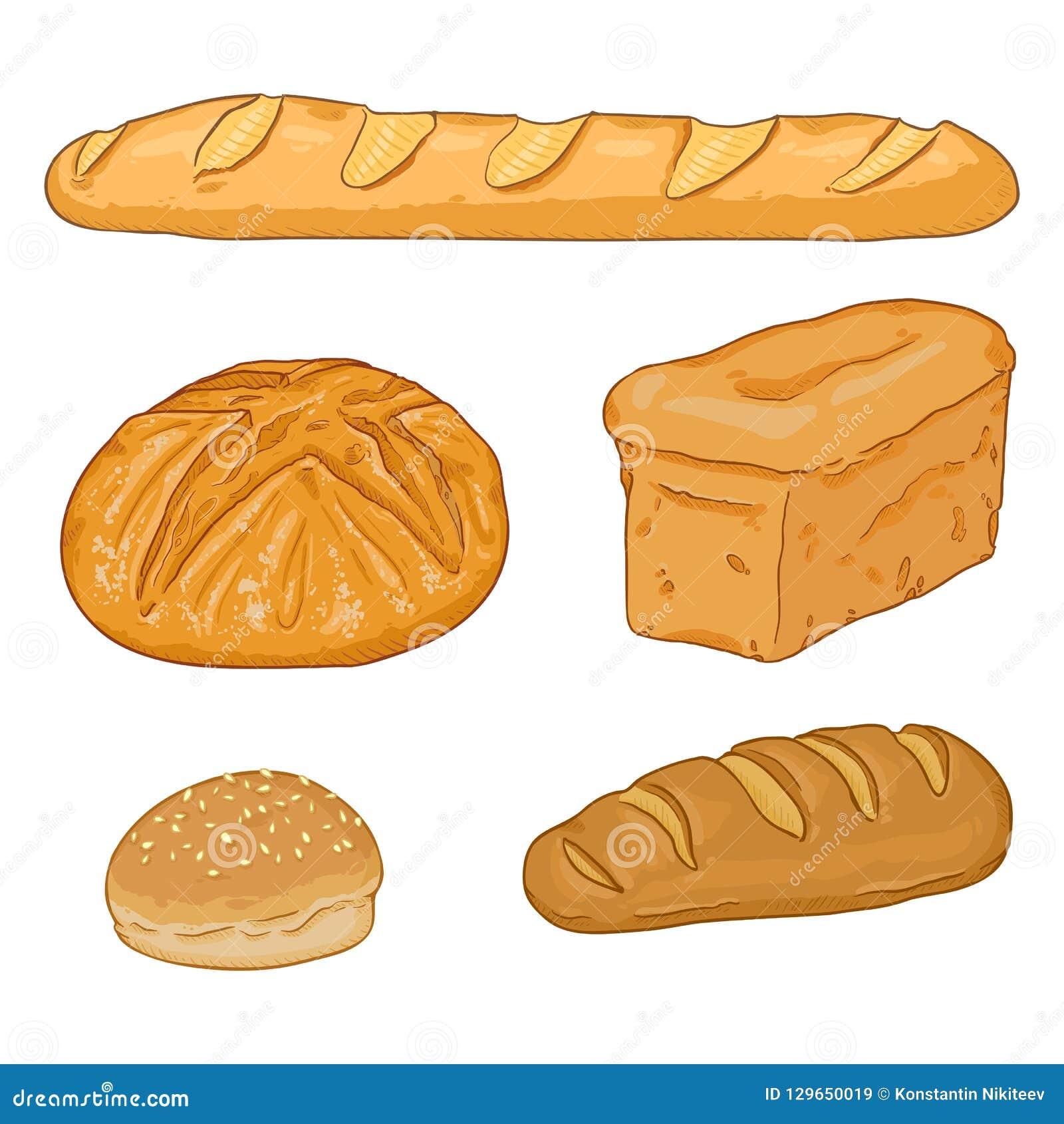 Мультфильм вектора установил свежих испеченных хлебцев и багетов хлеба