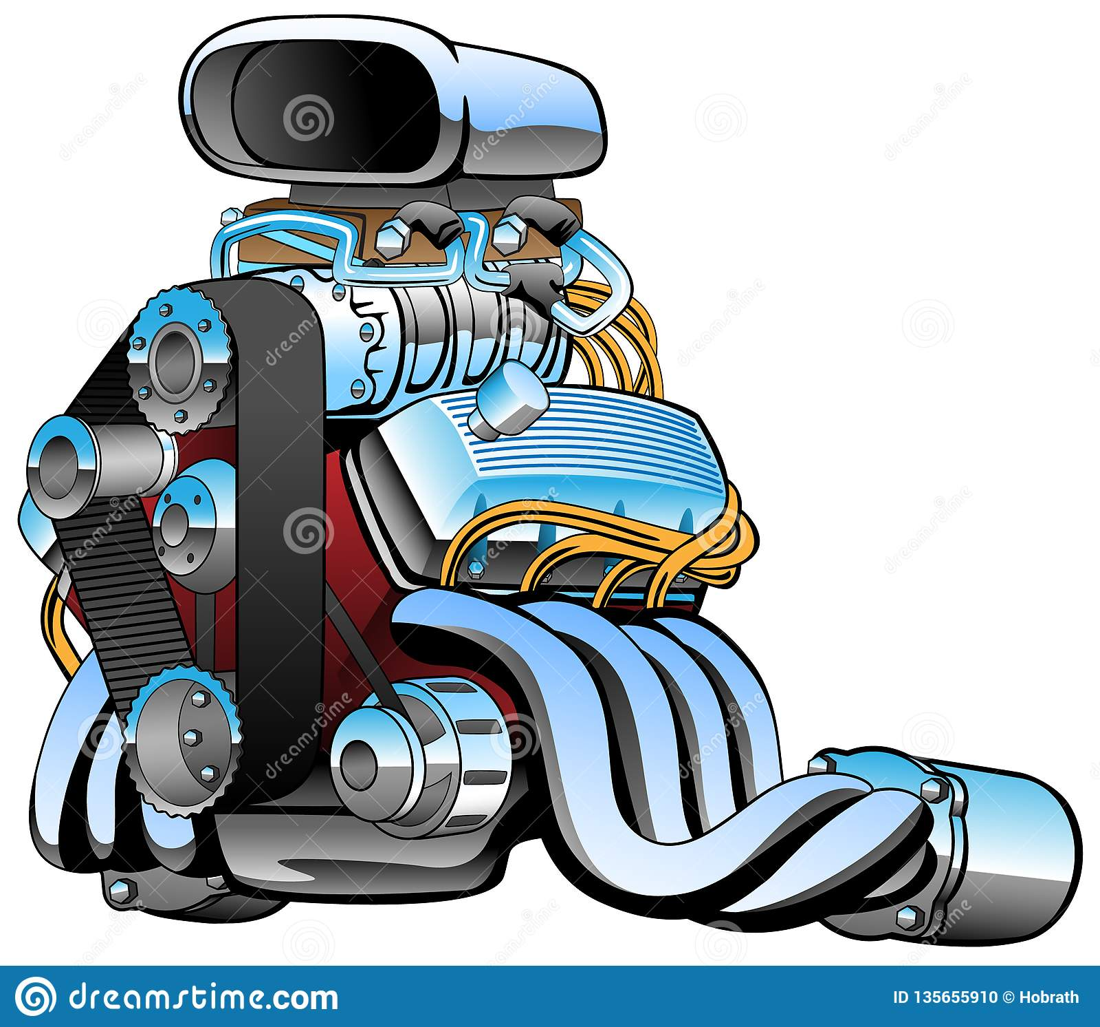 Мультфильм двигателя гоночной машины горячей штанги, серии хрома, огромного входа, жирных выхлопных труб, иллюстрации вектора