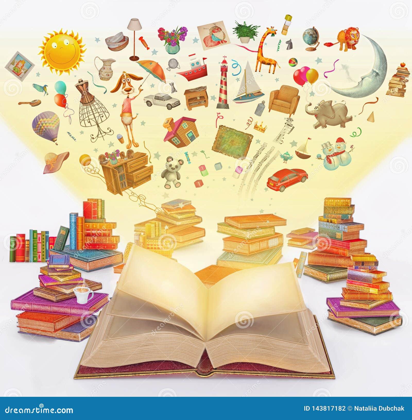 Мультфильм перевода иллюстрации много multi покрашенных винтажных книг