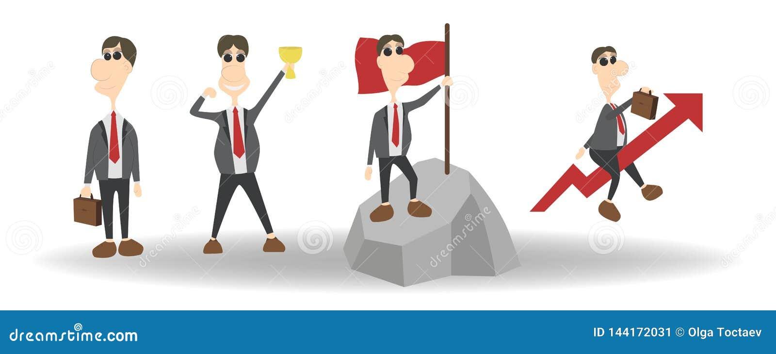 Мультфильм установил характера бизнесмена с различными представлениями и действиями Дизайн иллюстрации вектора плоский на белизне