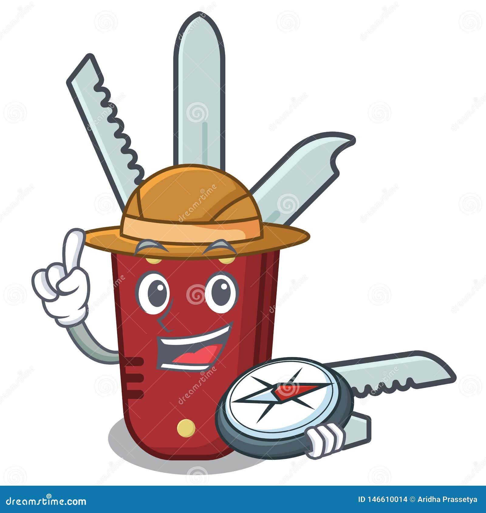 Мультфильм penknife исследователя на деревянном столе
