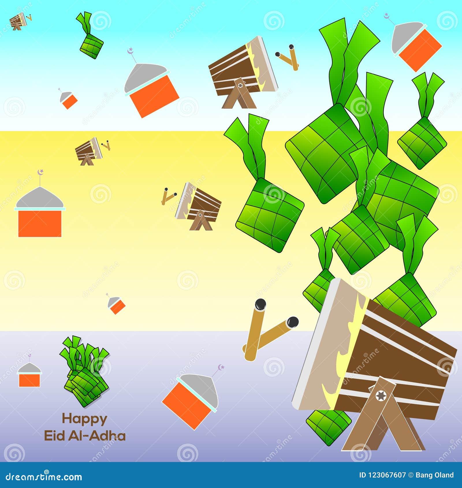 Мусульманский al-Adha Eid праздника торт риса украшения графического дизайна, мечеть, и ремесло барабанчика Иллюстрация EPS 10