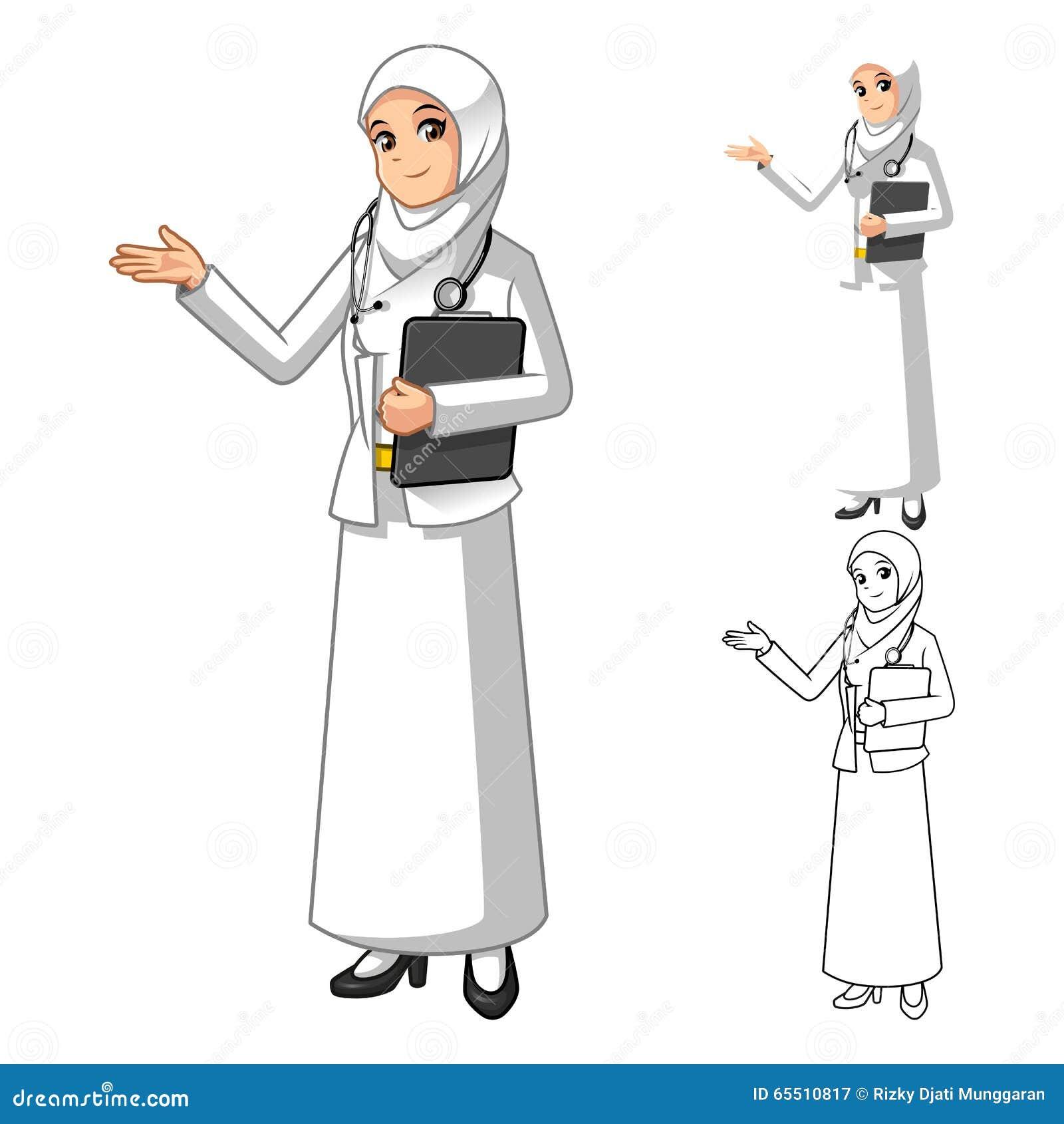 Мусульманский доктор Wearing Бел Вуаль или шарф женщины с приветствующими руками