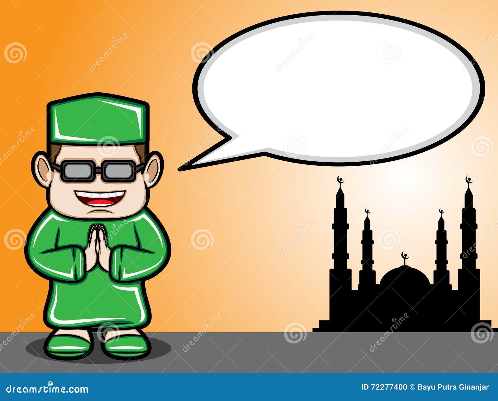 Download Мусульманское приветствие мальчика Иллюстрация вектора - иллюстрации насчитывающей идеи, празднество: 72277400