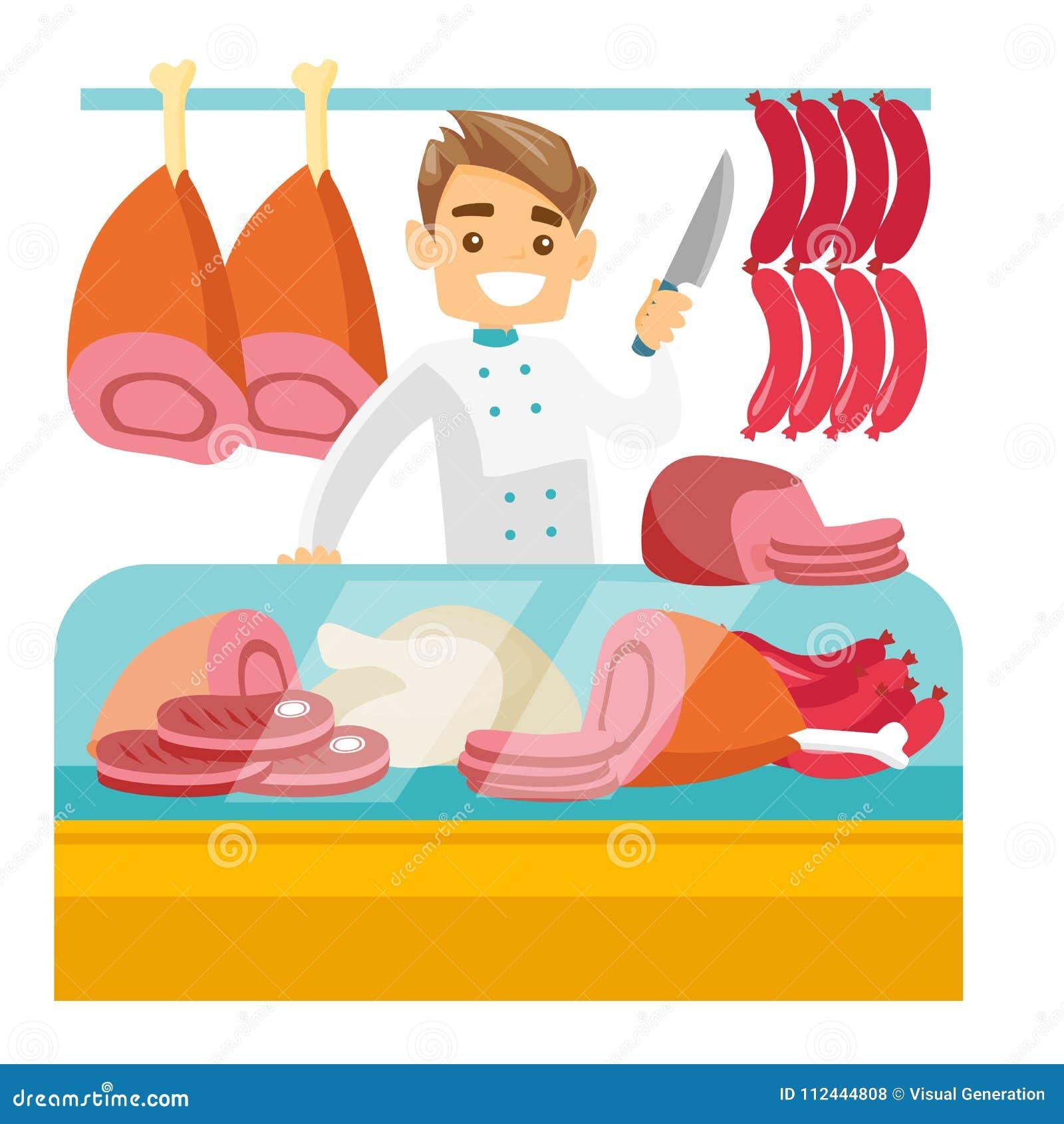 Мясник предлагая свежее мясо в палачестве