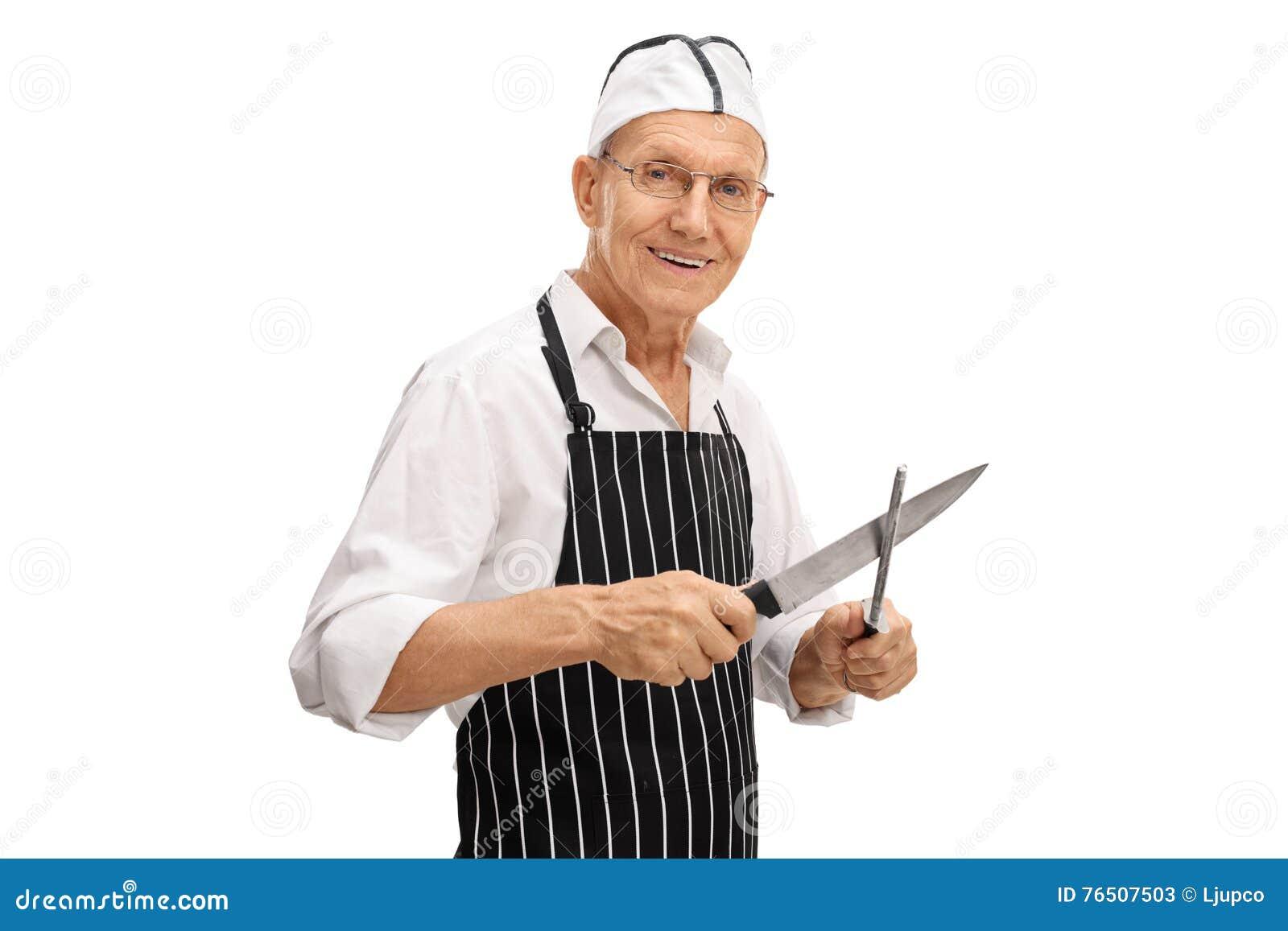 Мясник точить его нож