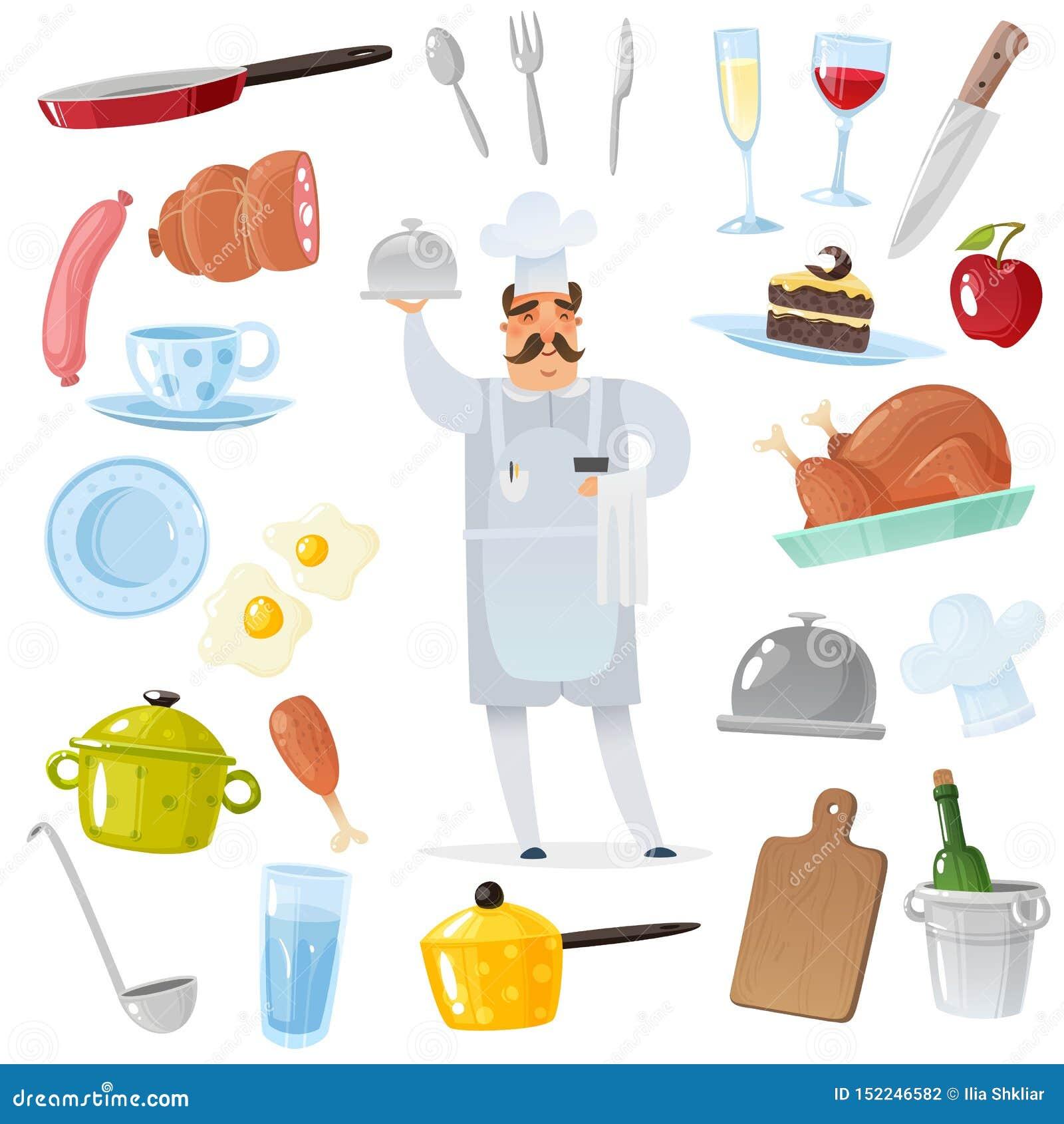 Набор аксессуаров шеф-повара мультфильма шеф-повар окруженный аксессуарами кухни и ресторана для варить изолированные объекты в к