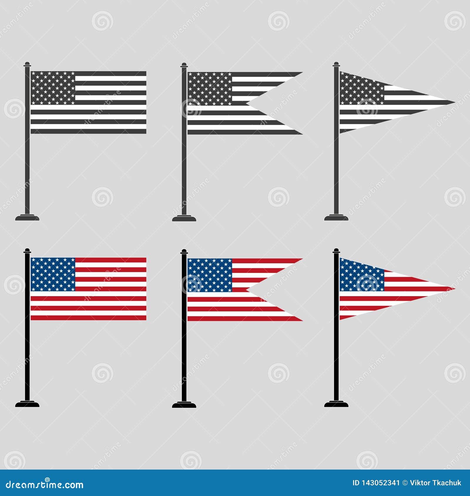 Набор американских флагов различных форм, покрашенных и серых