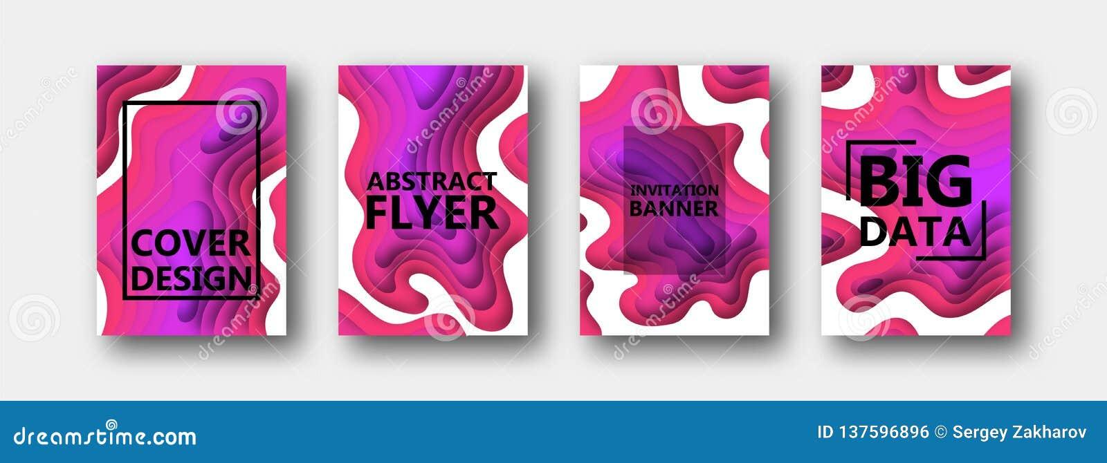 Набор 4 вариантов для знамен, летчиков, брошюр, карт, плакатов для вашего дизайна, в красном, пурпурный, розового, тонов сирени