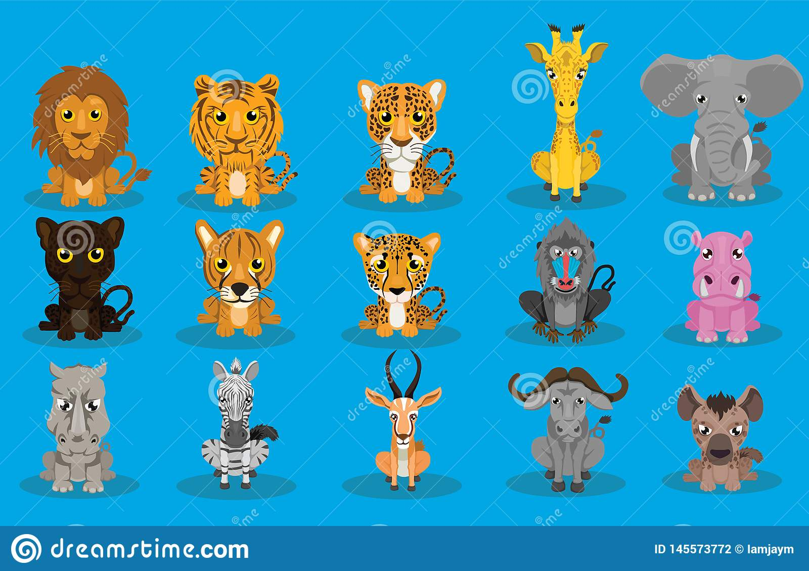 Набор вектора дизайна мультфильма дикого животного