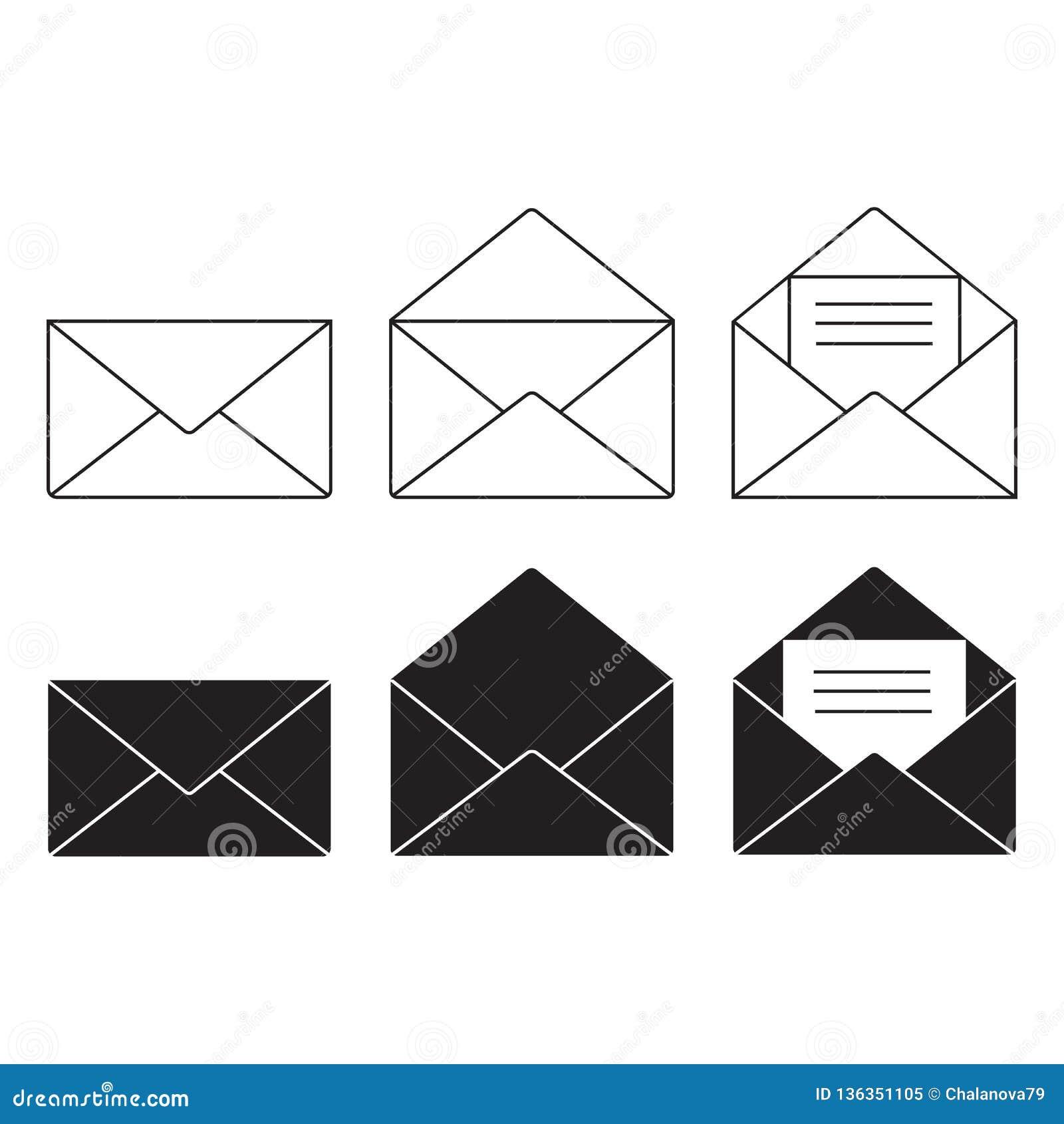 Набор вектора значка электронной почты, знак конверта, символ почты также вектор иллюстрации притяжки corel