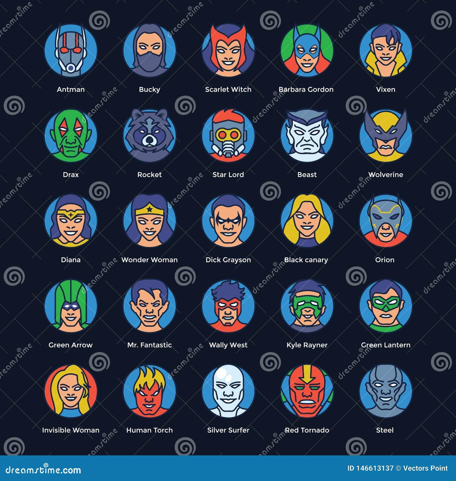 Набор векторов супергероев и злодеев плоский