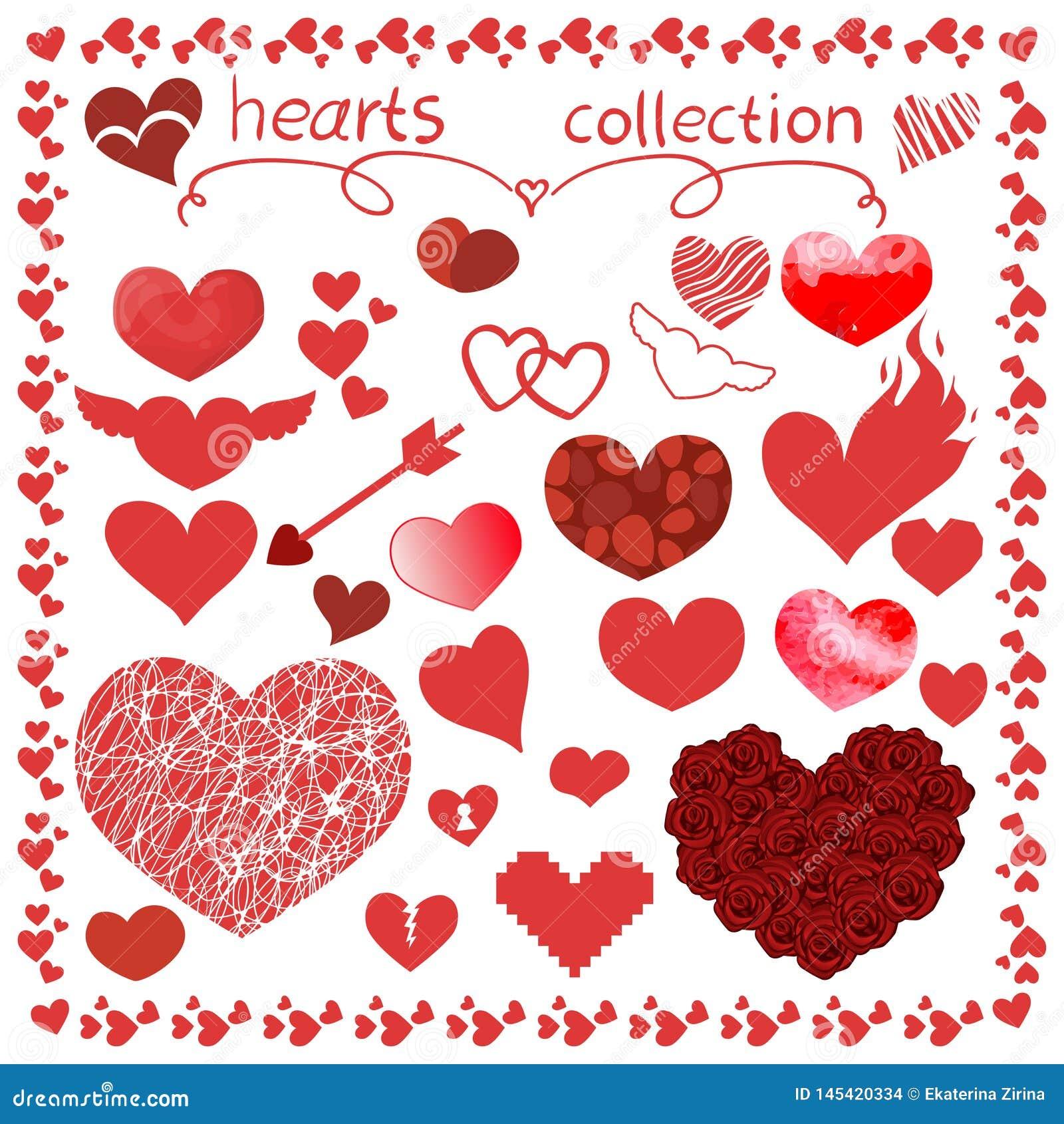 Набор дизайна вектора деталей сердец для всего