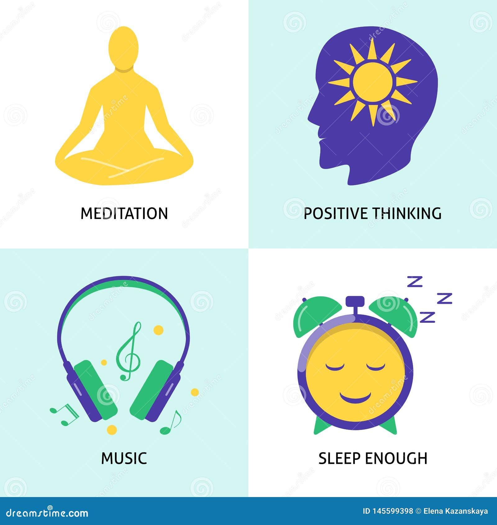 Набор значка концепции релаксации и психических здоровий в плоском стиле