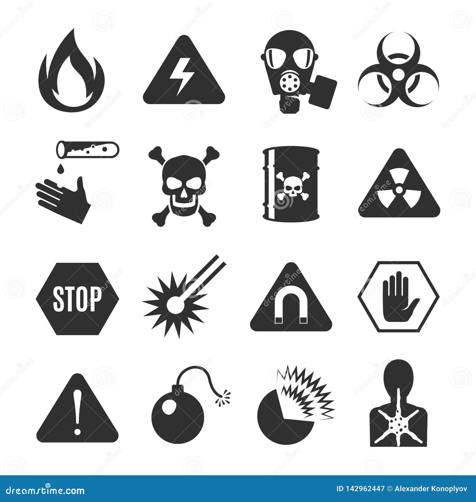Набор значка опасности черный, остерегается и предупреждая информация