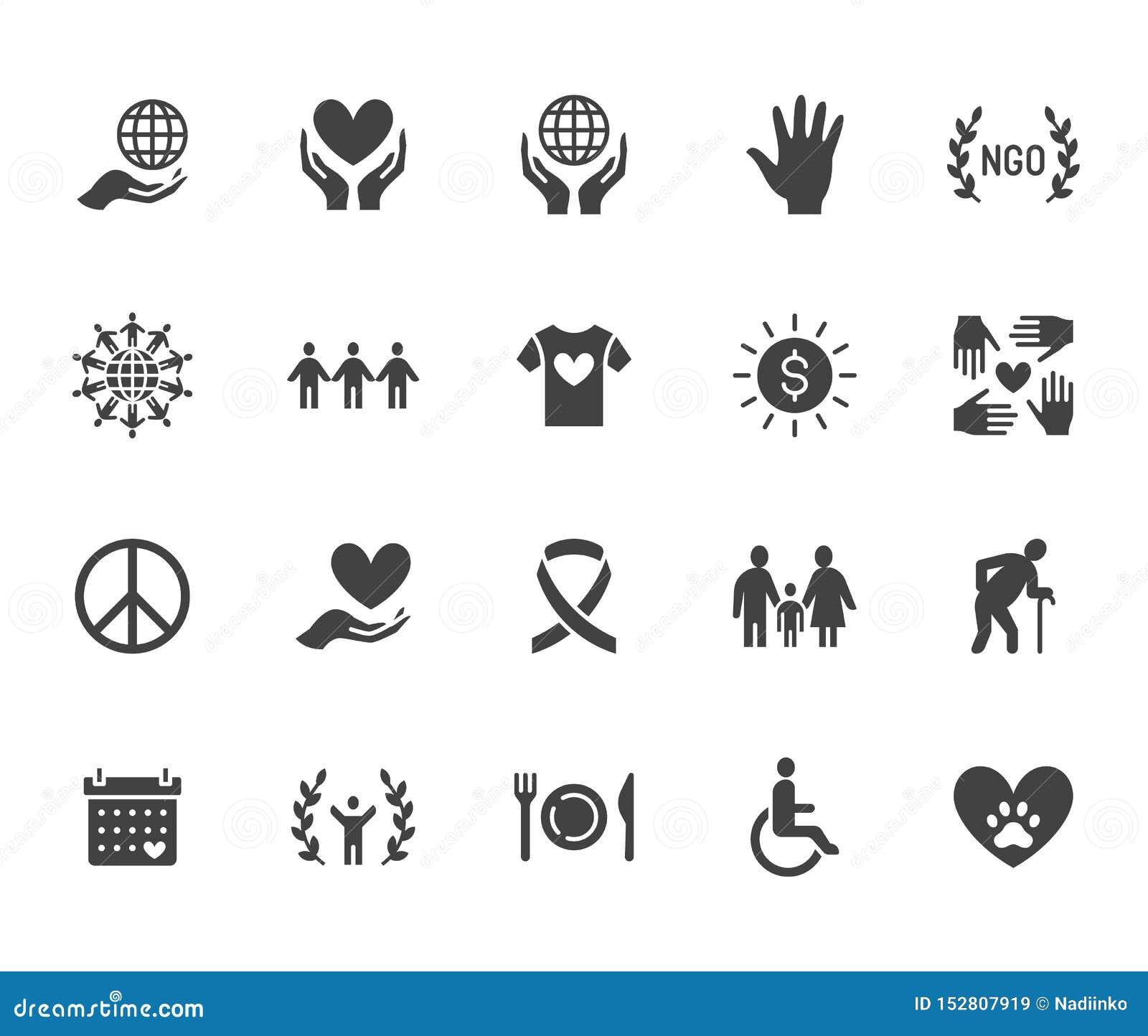 Набор значков глифа призрения плоский Пожертвование, некоммерческая организация, НЕПРАВИТЕЛЬСТВЕННАЯ ОРГАНИЗАЦИЯ, давая иллюстрац