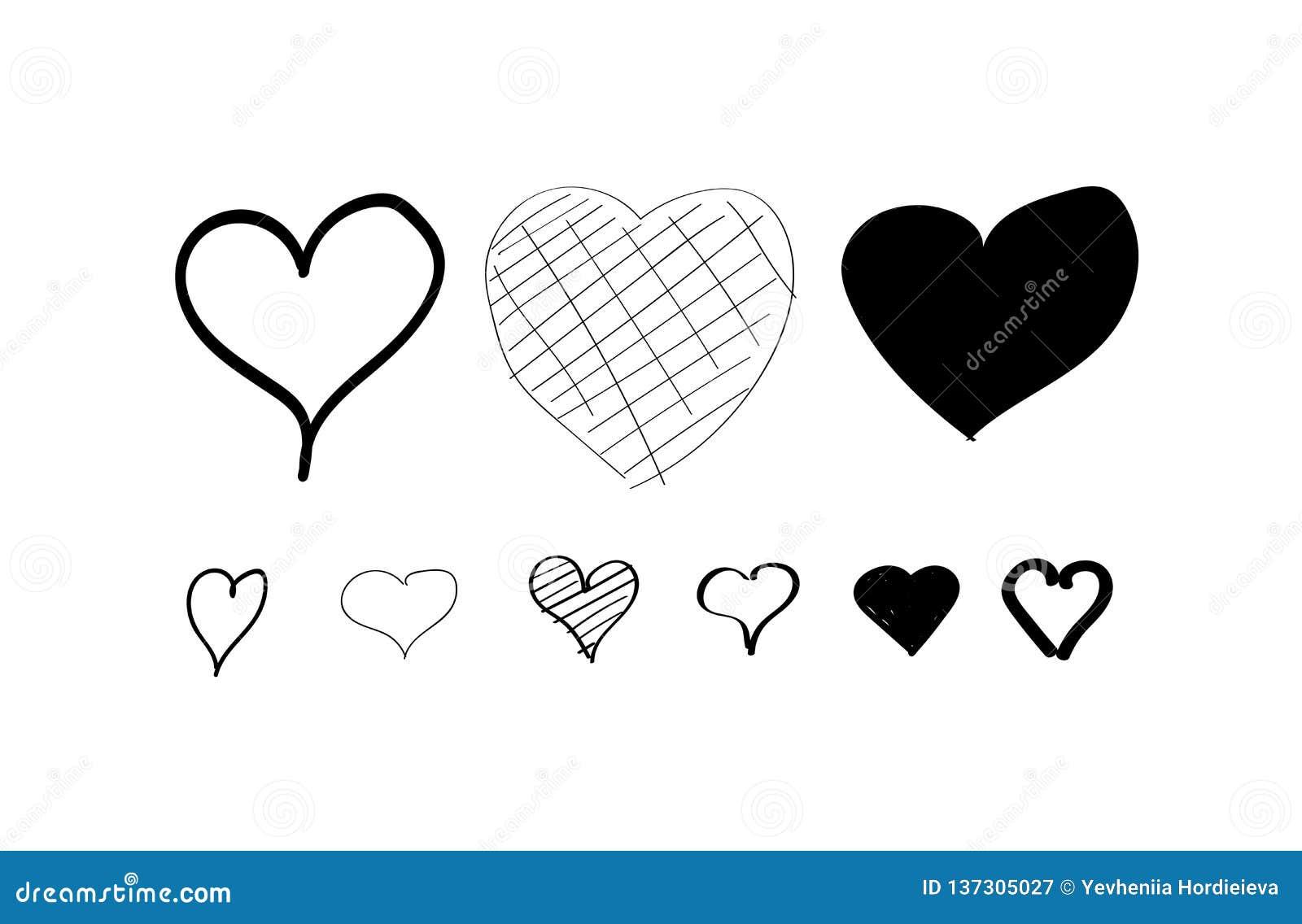 Набор значков руки сердца вычерченный белизна изолированная предпосылкой Сердца на вебсайт, плакат, обои и день Валентайн Коллекц