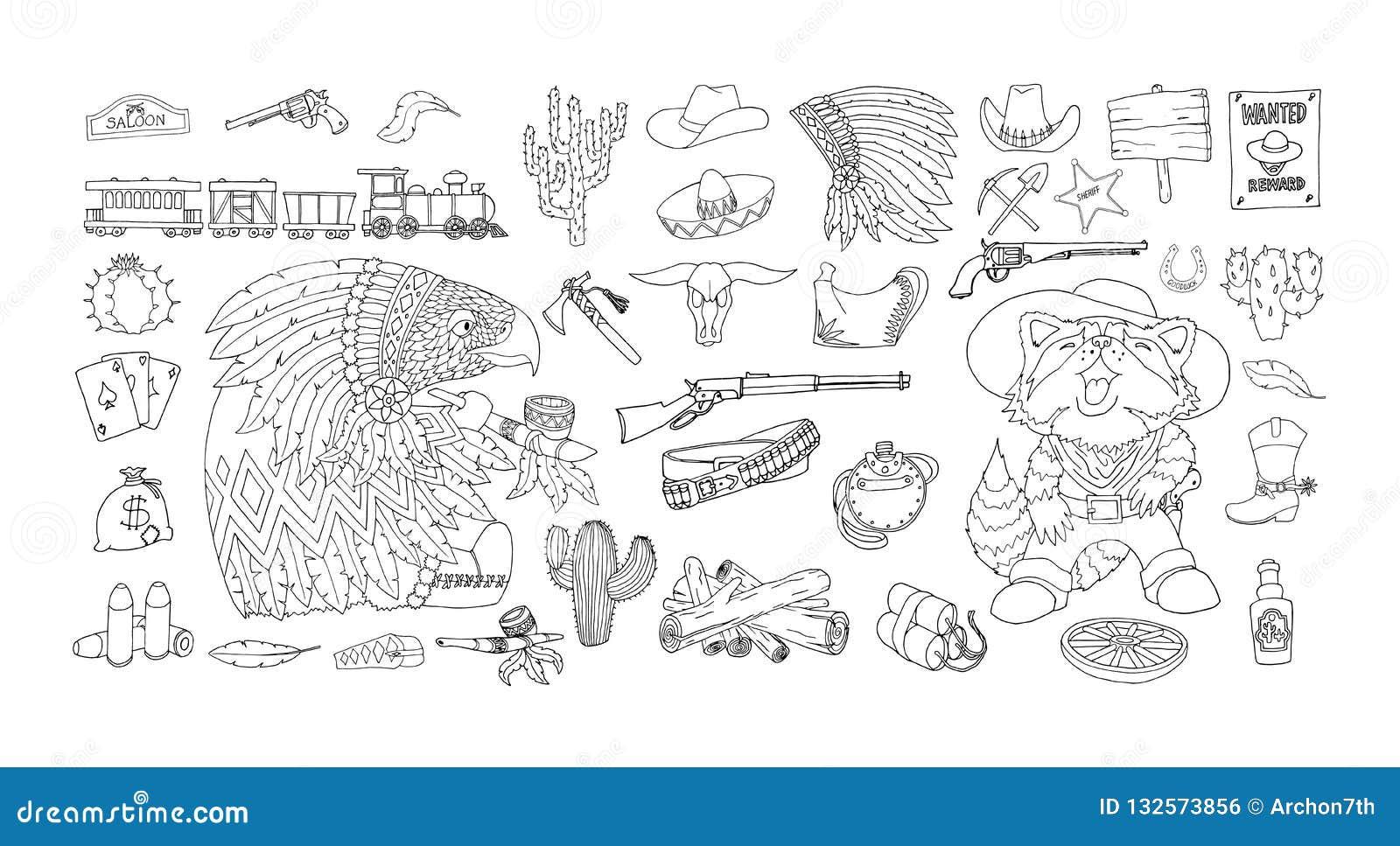 Набор значков элементов Дикого Запада Чертеж чернил и ручки Приписывает американскую границу