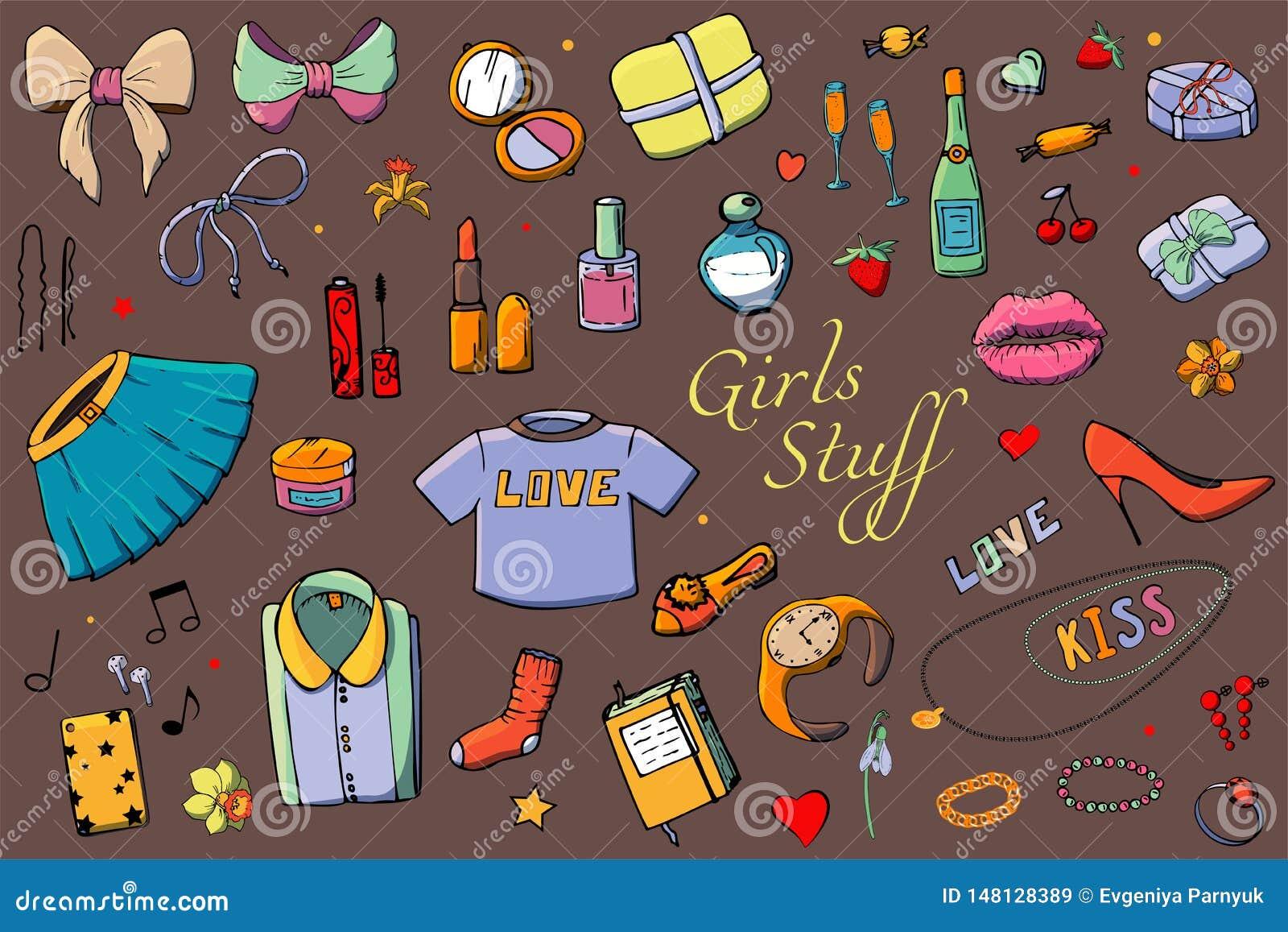 Набор иллюстрации моды шаблонов руки вычерченной с веществом девушек Установите одежды, ювелирных изделий, косметик, подарков и р
