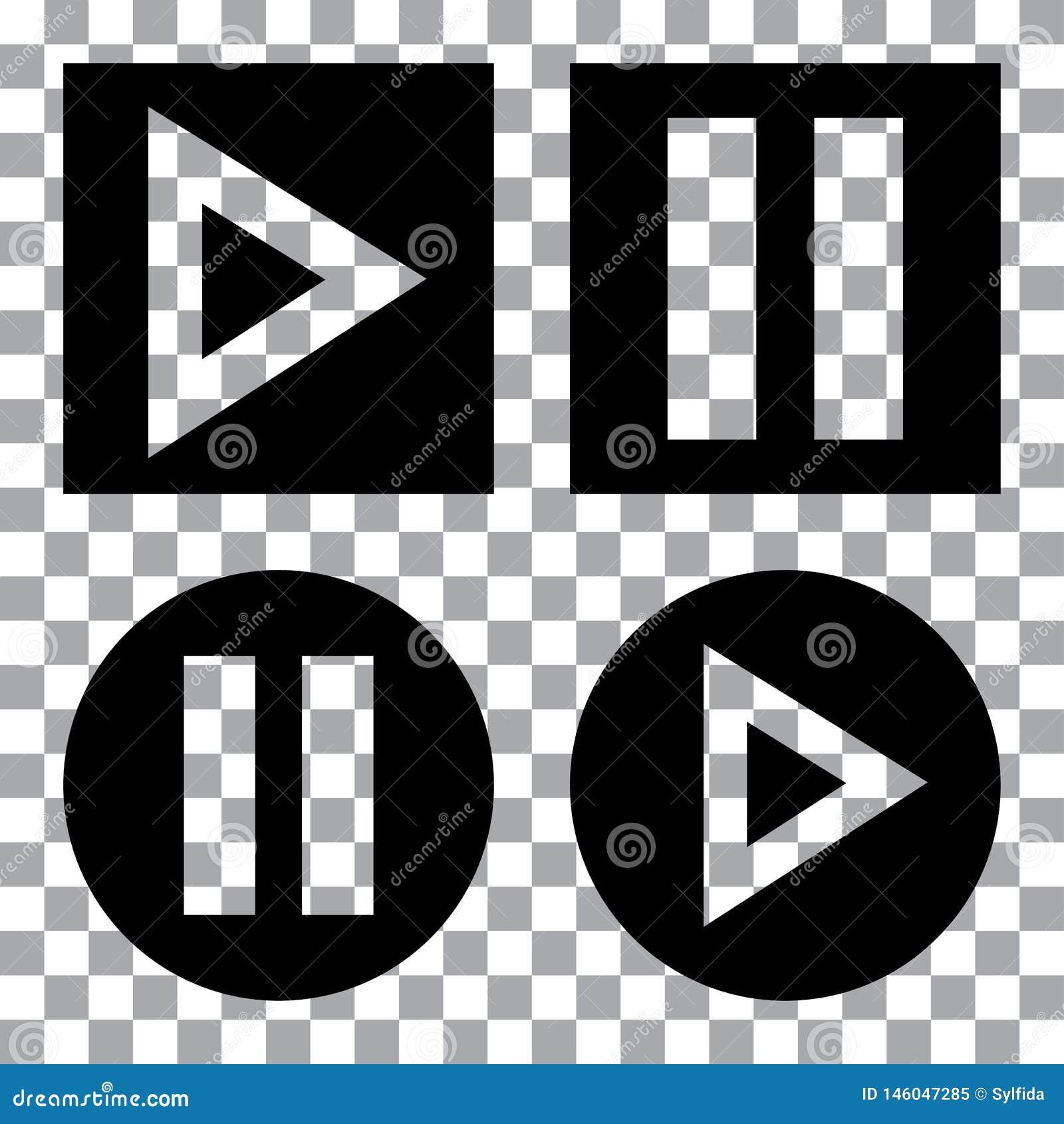 Набор кнопок мультимедиа Черный значок кнопки игры r