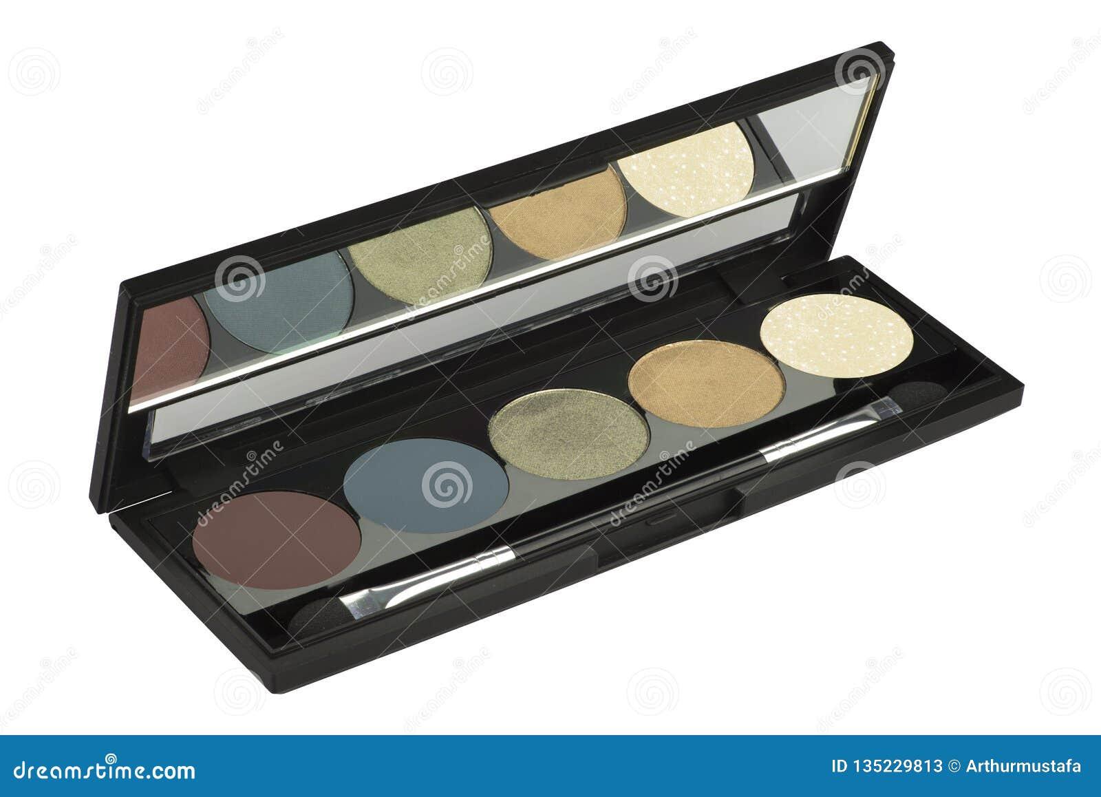 Набор 5 косметический твердый теней для век, продукт в тонком черном ящике, продукт красоты изолированный на белой предпосылке, п