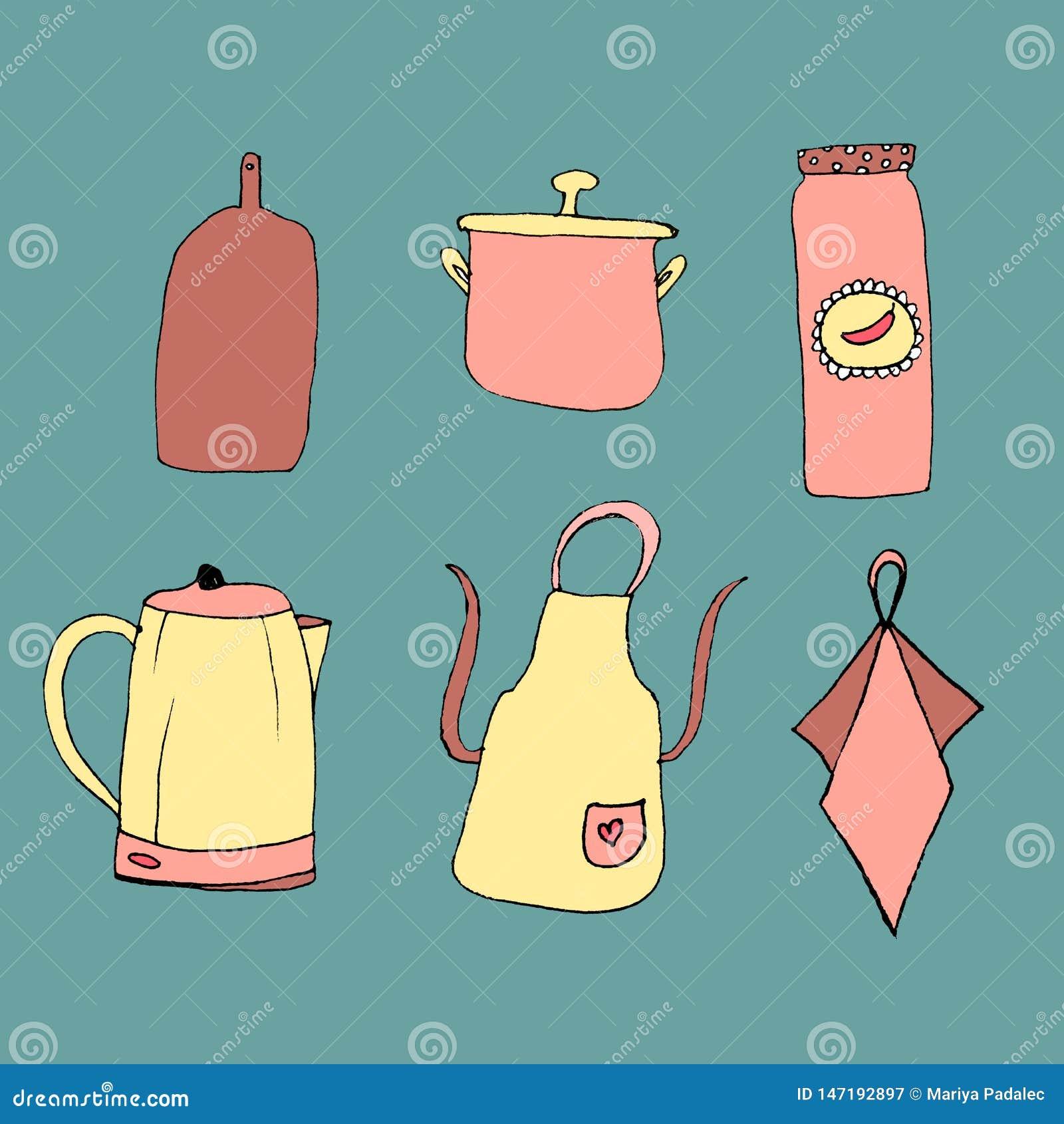 Набор красочных деталей для кухни Утвари кухни в ограниченном ряде цвета r Нарисованный черным вкладышем мимо