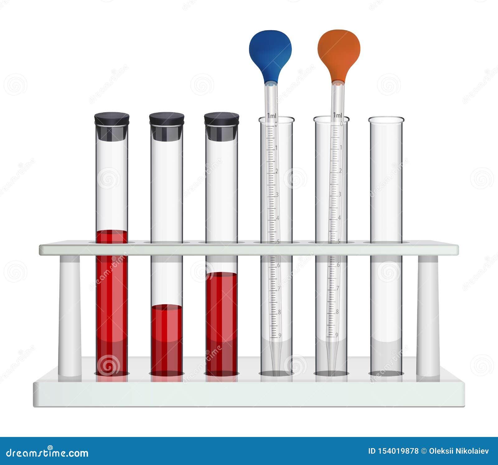 Набор лабораторного оборудования для анализа крови Стеклянные пробирки и измеряя пипетка в шкафе лаборатории Объекты дальше