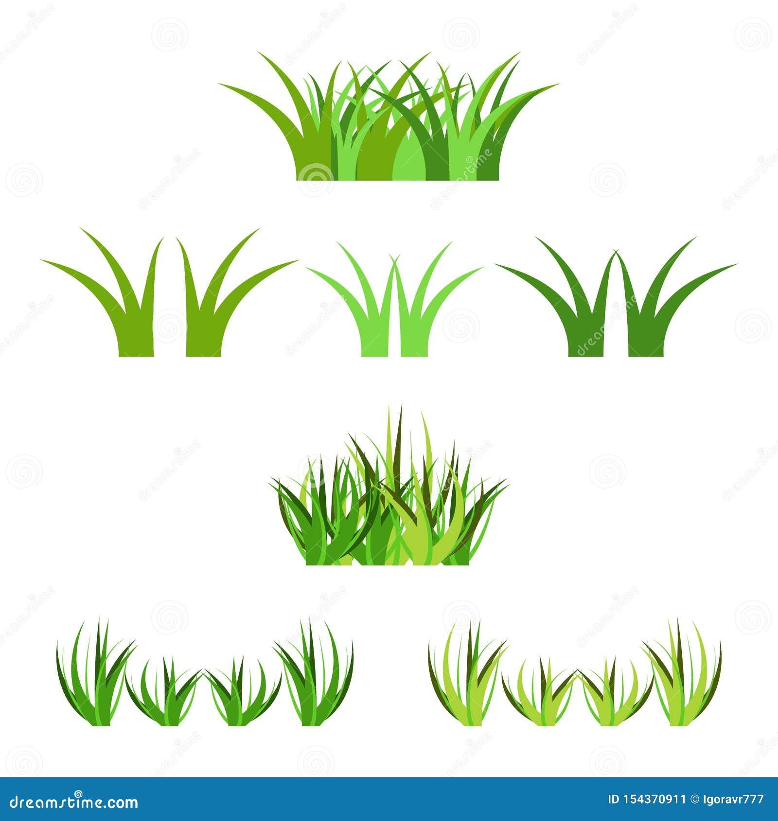 Набор пуков зеленой травы вектора horisontal изолированных на белизне Украшение упорок мультфильма