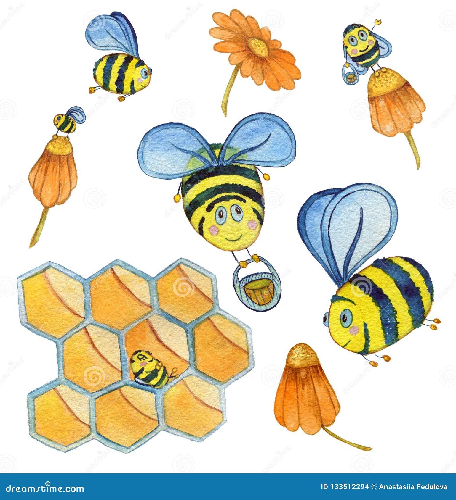Набор руки акварели вычерченный с пчелами, цветками и сотами летания