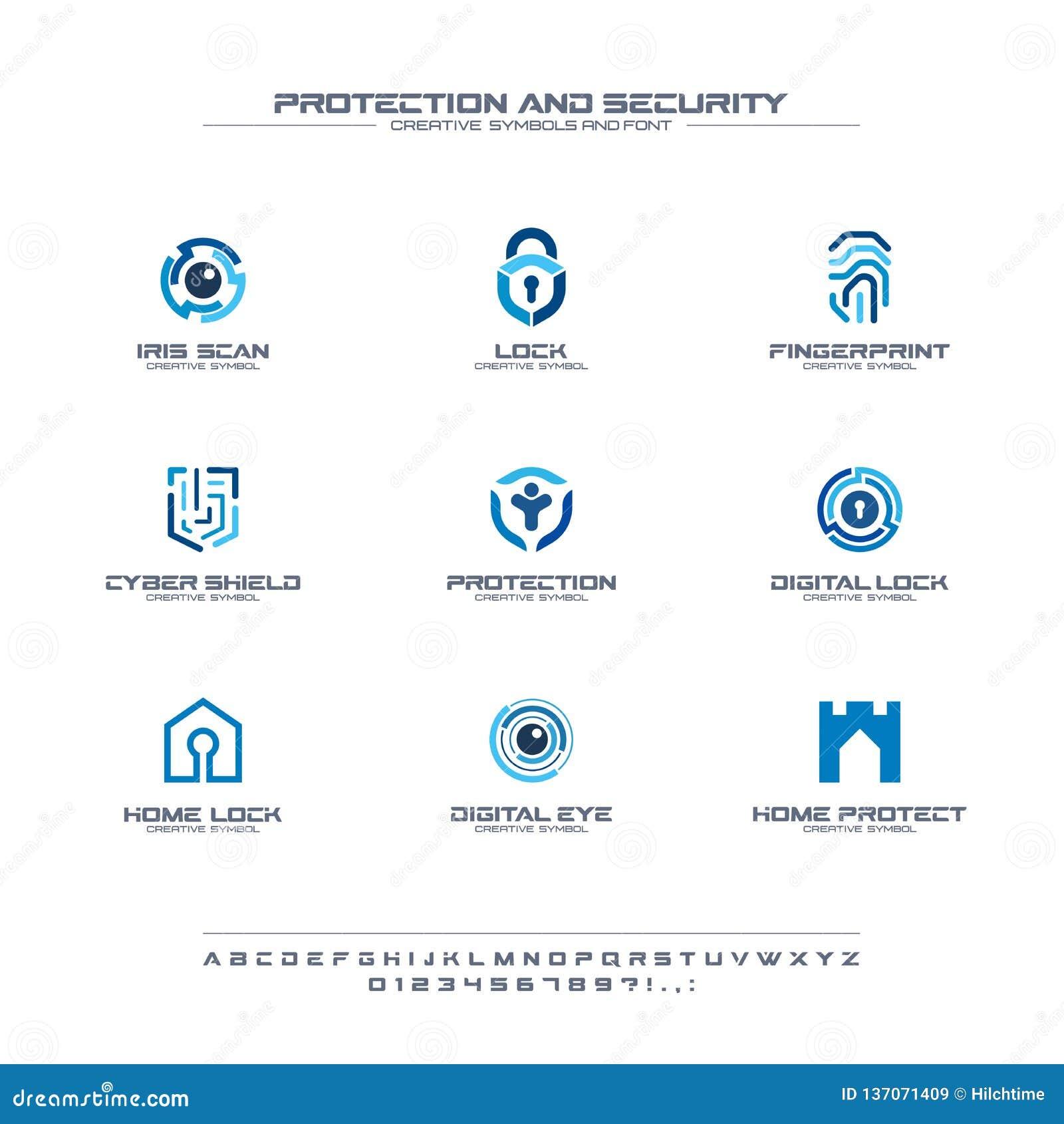 Набор символов защиты и безопасности творческий, концепция шрифта Домой, логотип дела людей безопасный абстрактный зафиксируйте с
