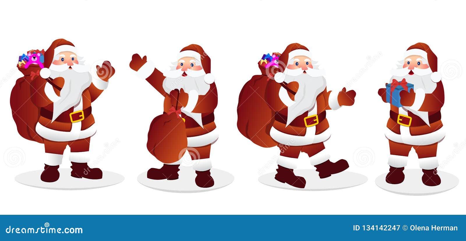 Набор символов Санта Клауса illustation вектора