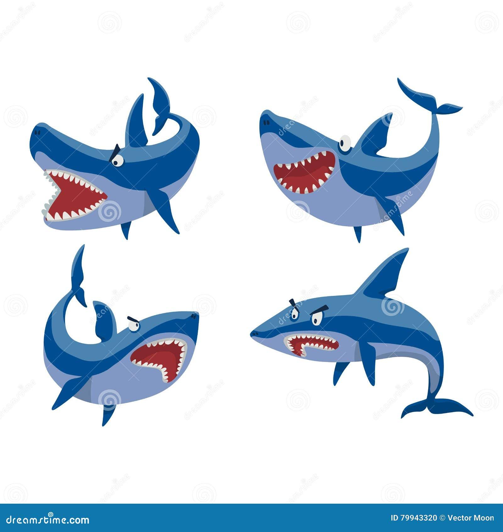 Набор символов акулы вектора