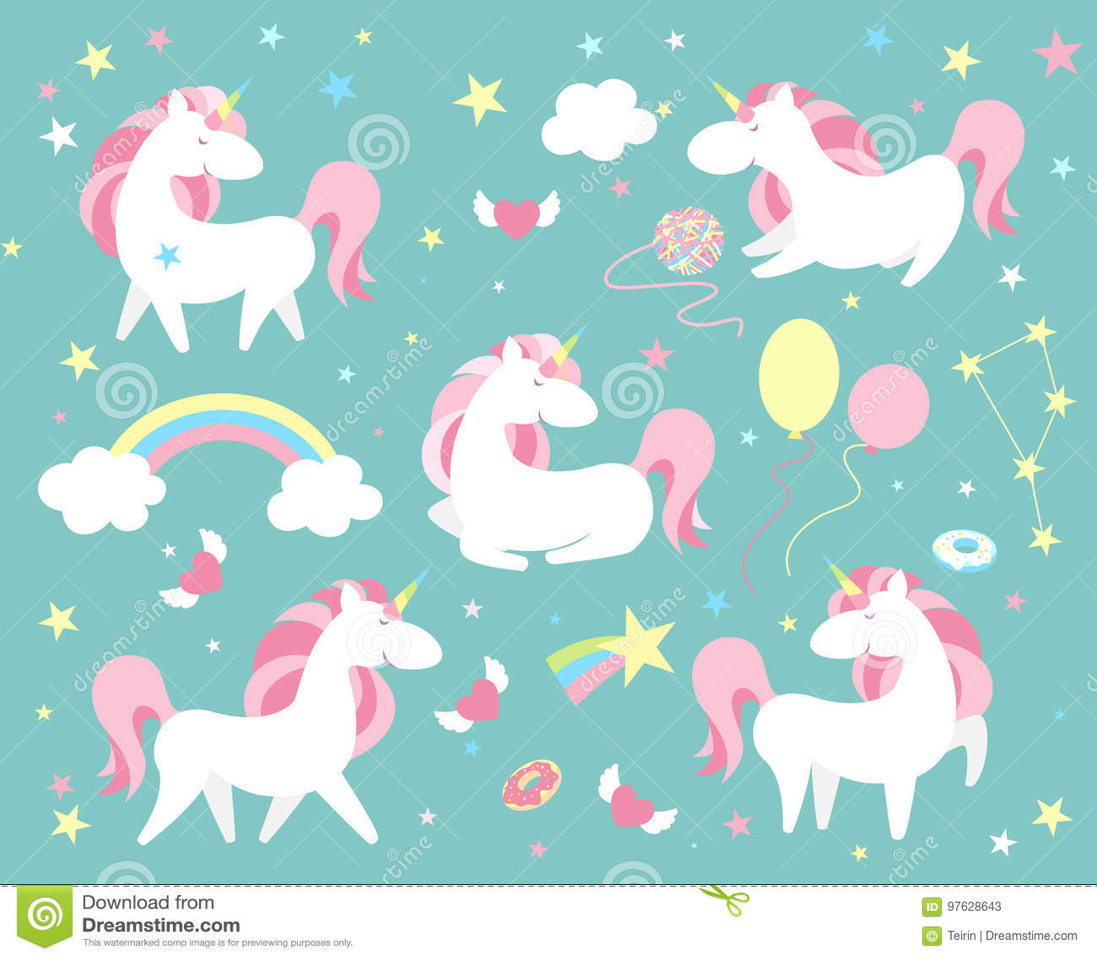Набор символов единорога Милое волшебное собрание с единорогом, радугой, сердцем, fairy крылами и воздушным шаром Вектор стиля Ca