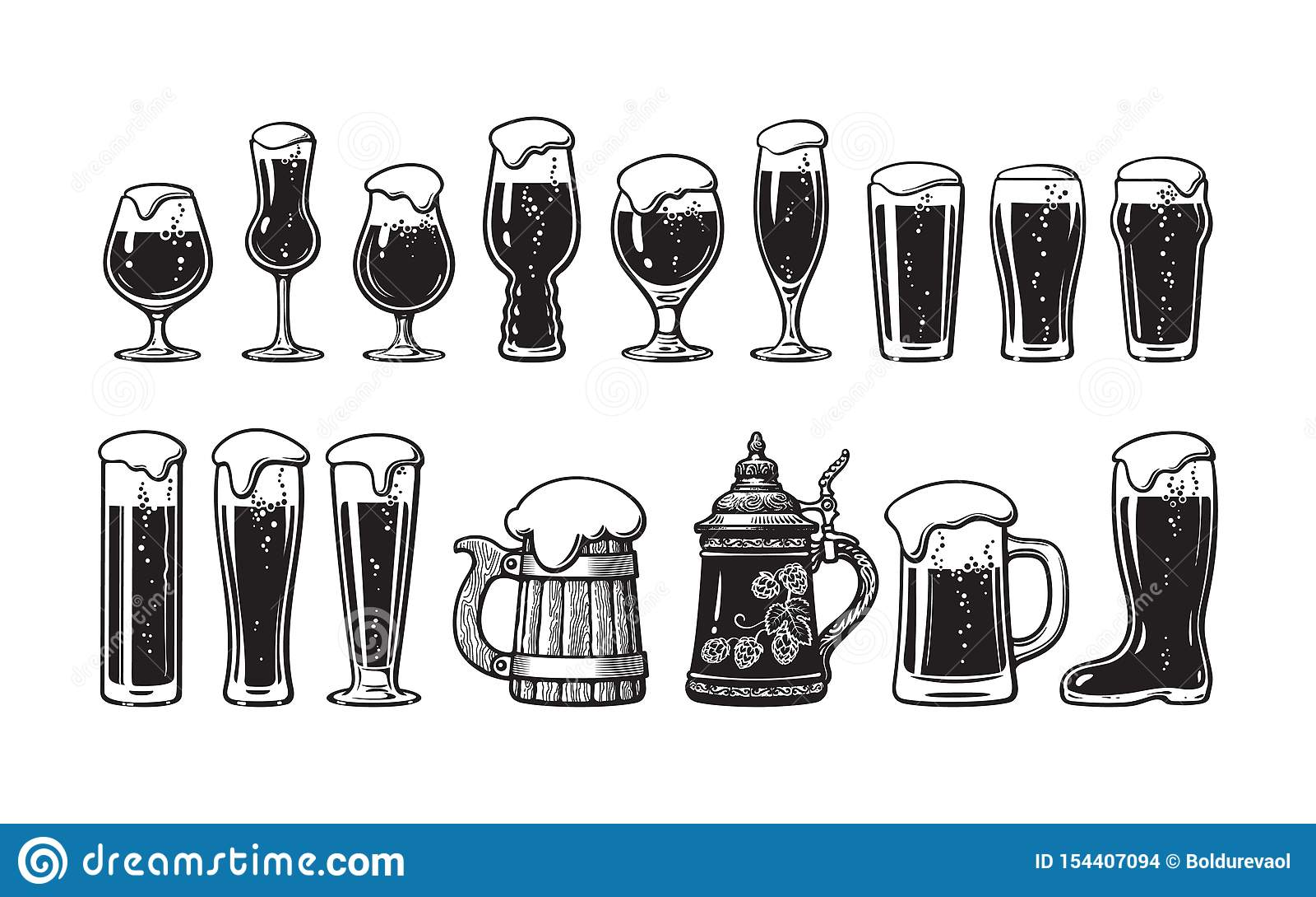 Набор стеклоизделия пива Различные типы стекел и кружек пива Иллюстрация вектора руки вычерченная на белой предпосылке