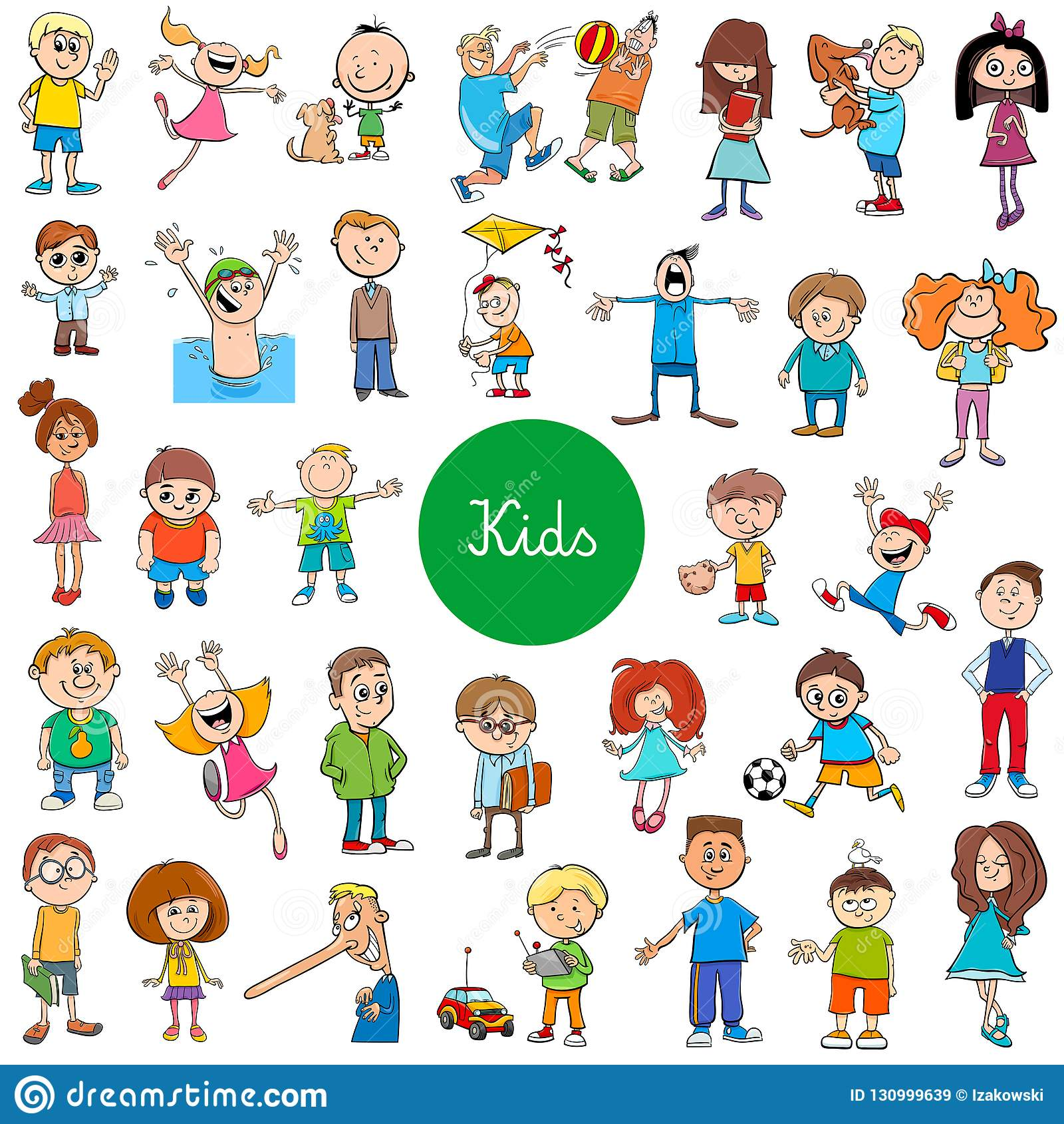 Набор характеров детей мультфильма большой