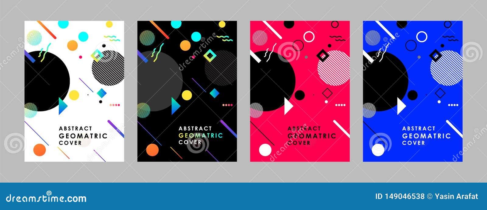 Набор шаблонов дизайна крышек современный абстрактный Минимальные геометрические составы форм для летчика, знамени, брошюры и пла