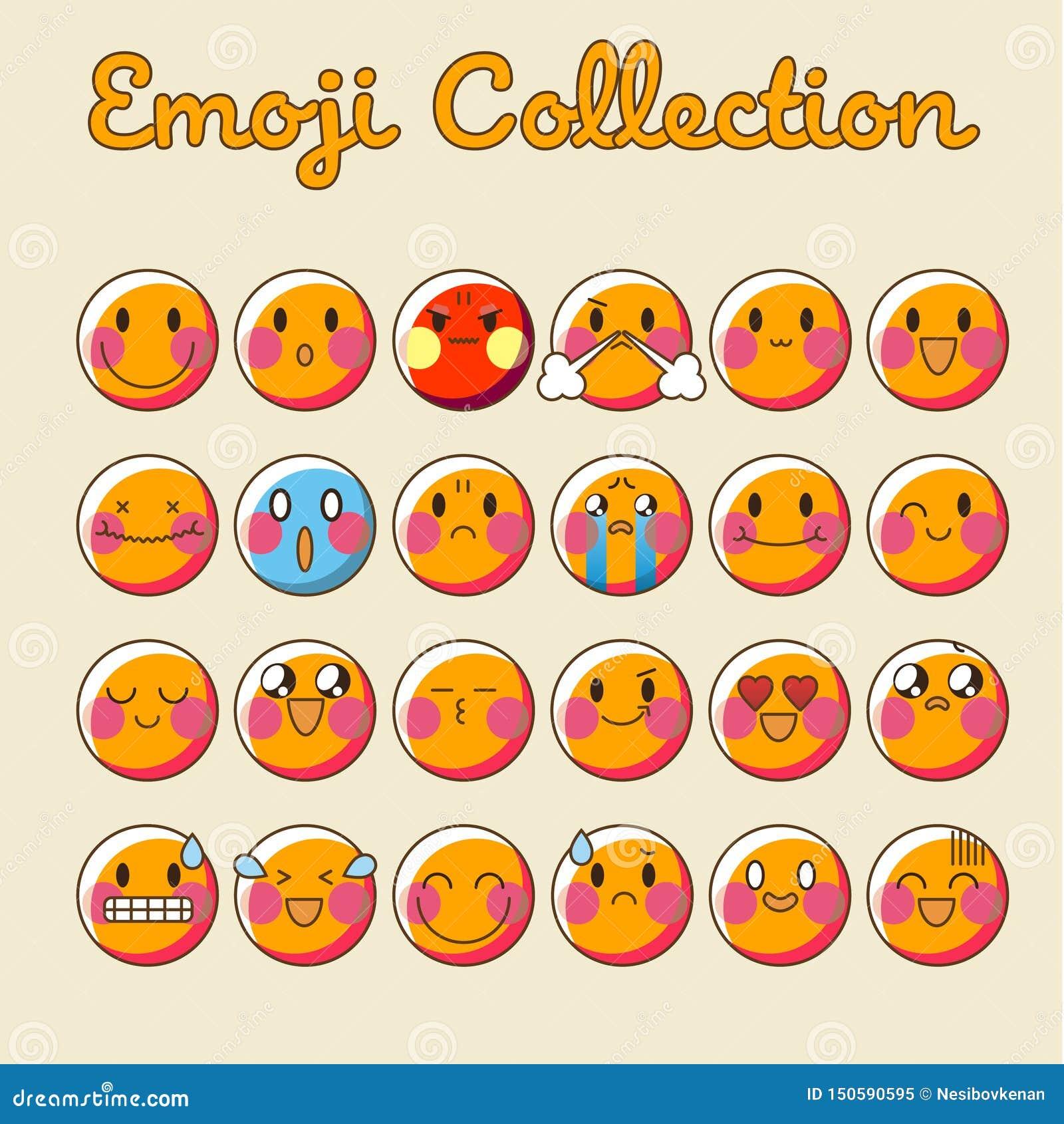 Набор Emoji вектора Собрание Emoji значка смайлика плоское - вектор