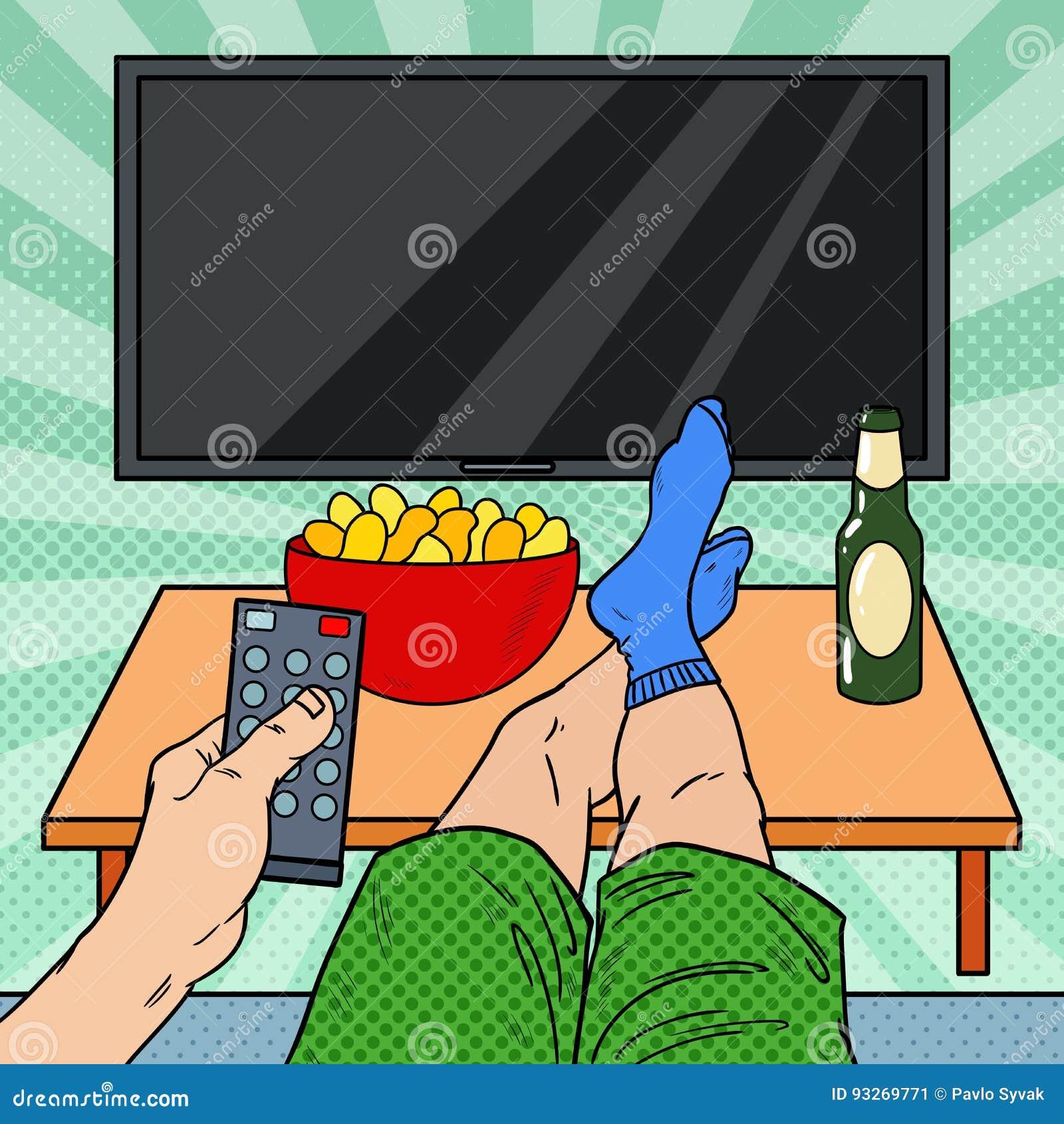 наблюдать tv Человек держа дистанционное управление в живущей комнате Иллюстрация искусства шипучки