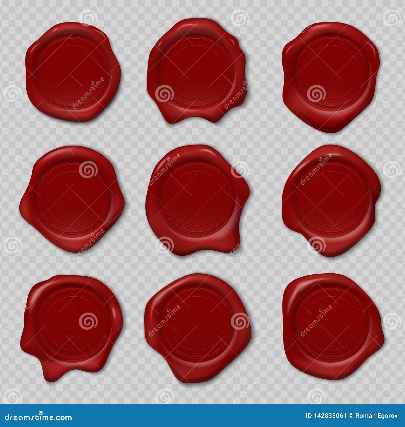 Навощите уплотнение Резиновая печать сертификата, реалистическое красное уплотнение воска свечи, королевская средневековая выбита
