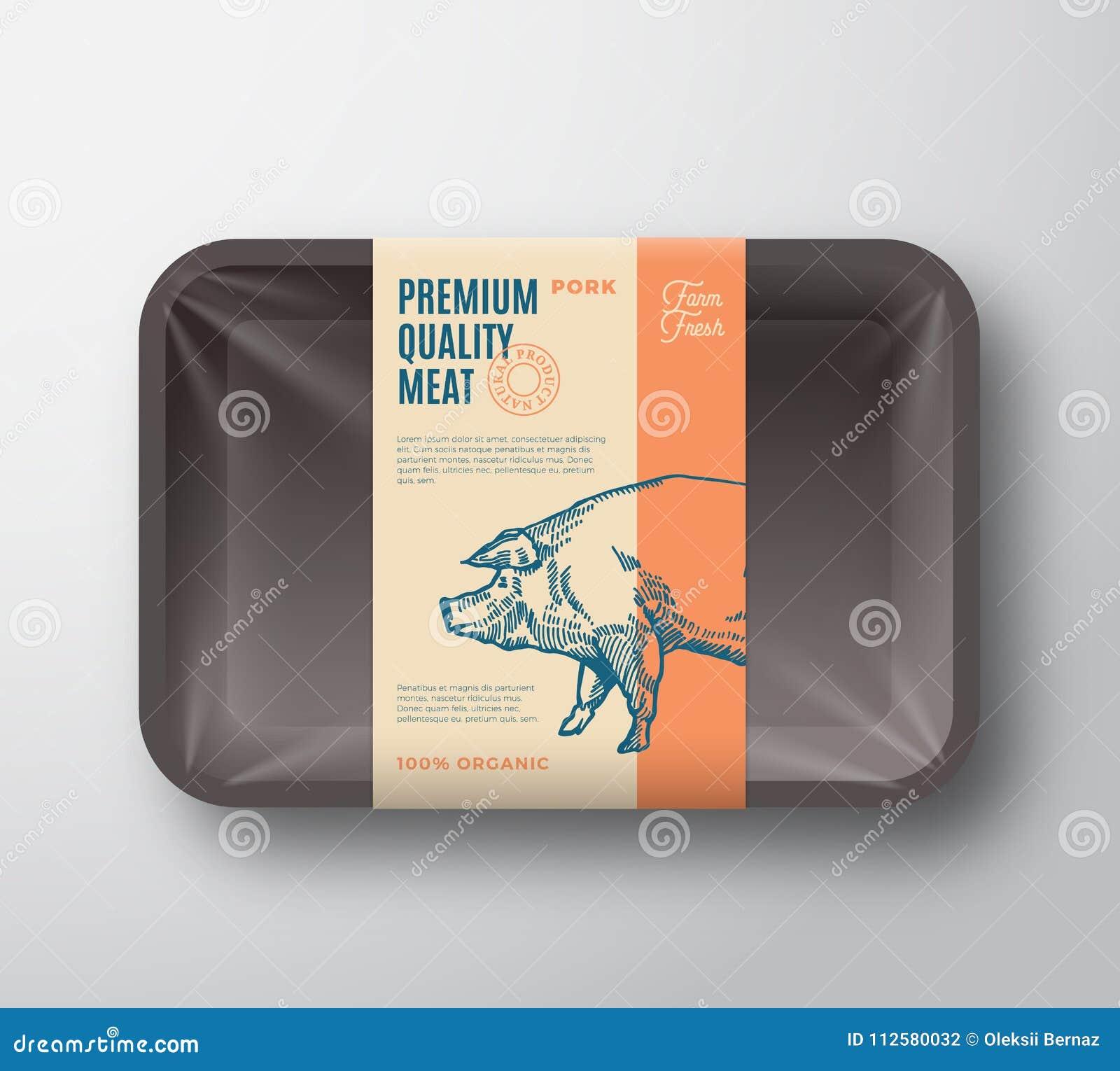 Наградной качественный пакет свинины Контейнер подноса абстрактного мяса вектора пластичный с крышкой целлофана Ярлык комплексног
