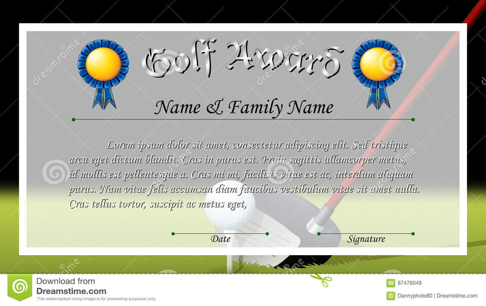 Награда сертификата для награды гольфа