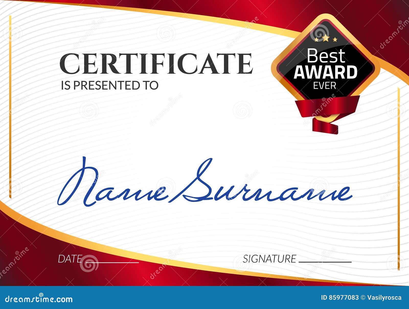 Награда шаблона сертификата роскошная Диплом дела вектора с штемпелем уплотнения Талон подарка или достижение успеха