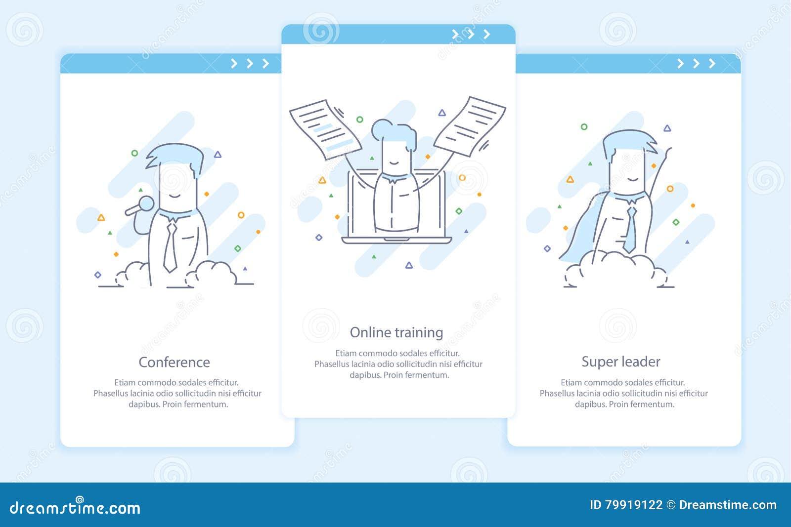Наградная качественная линия значок и концепция установленное Onboarding: Конференция, онлайн обучение, супер руководитель, бизне
