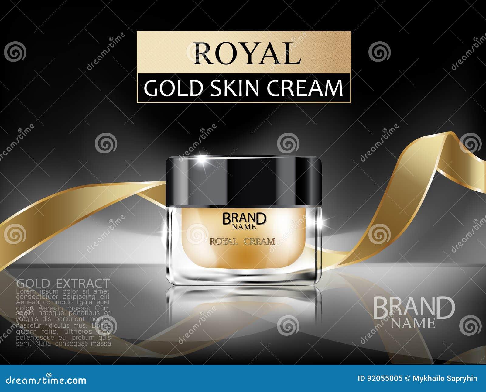 Наградная косметическая стеклянная cream бутылка 3d с королевской сливк стороны золота внутренней и лента золота на темной абстра